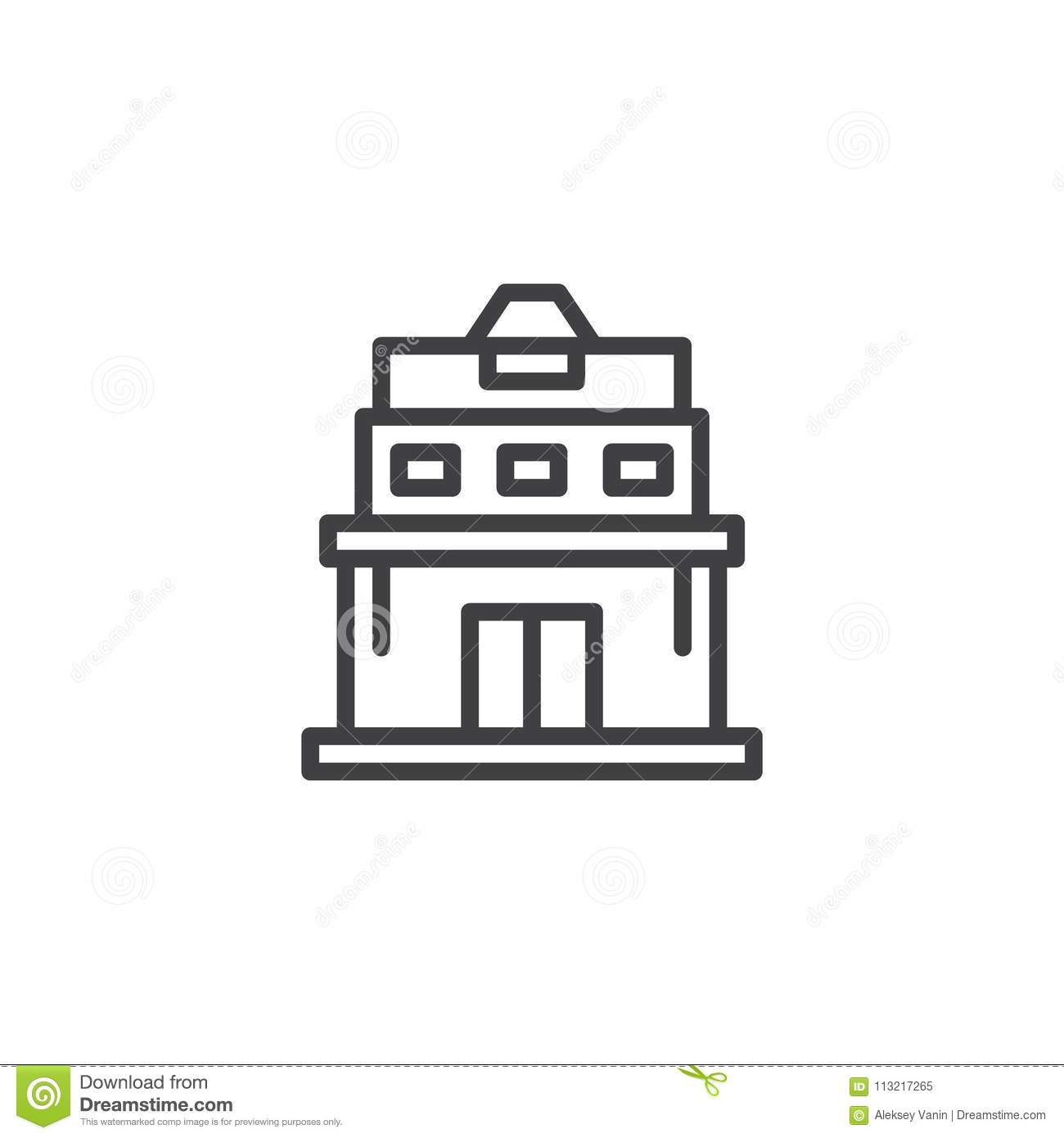 Download Observatory Building Outline Icon Stock Vector