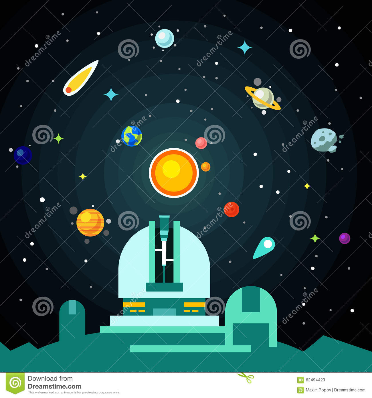Observatory Station, Solar System With Planets Stock ...