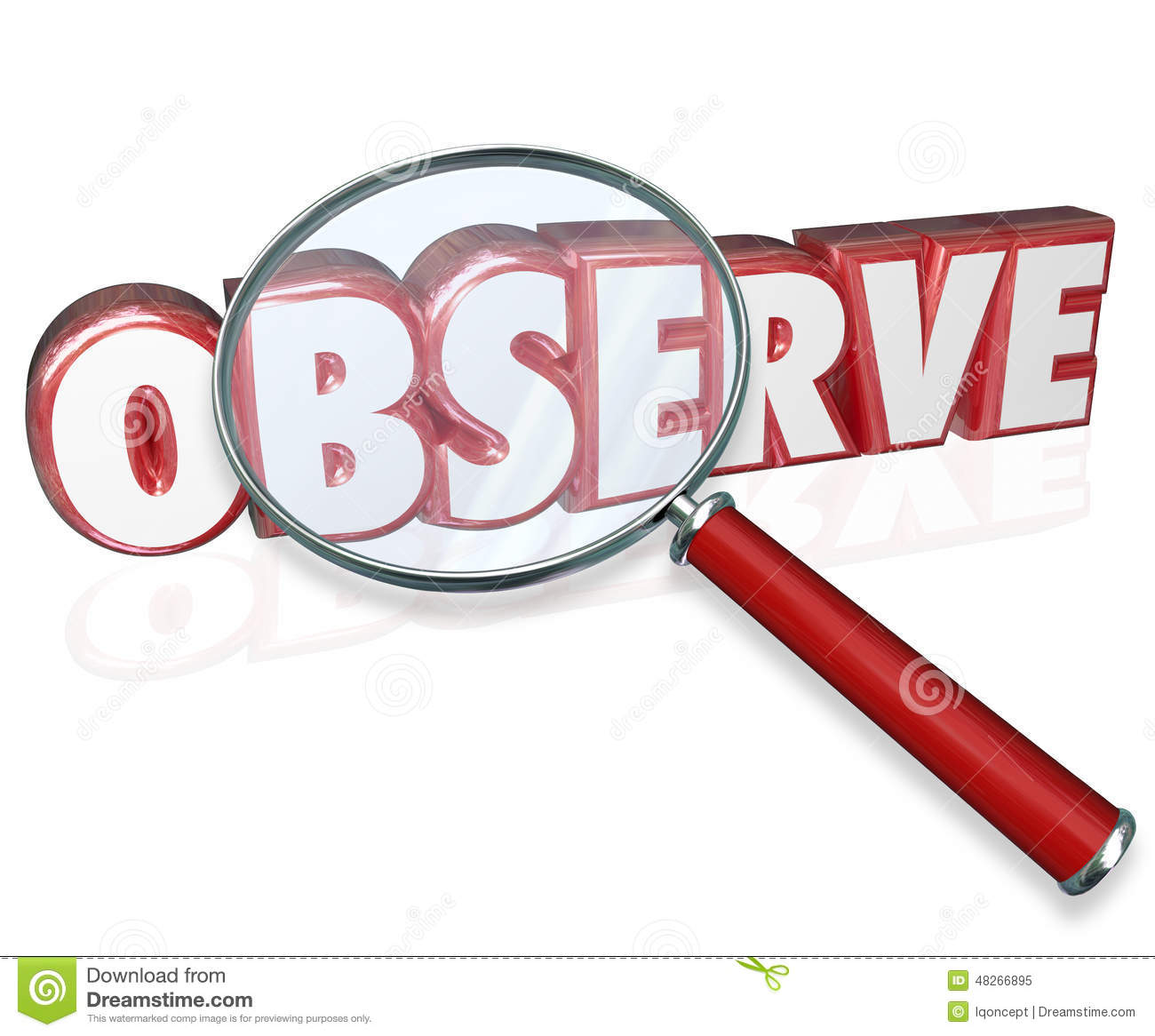 observe 3d word magnifying glass examine inspect pay attention stock