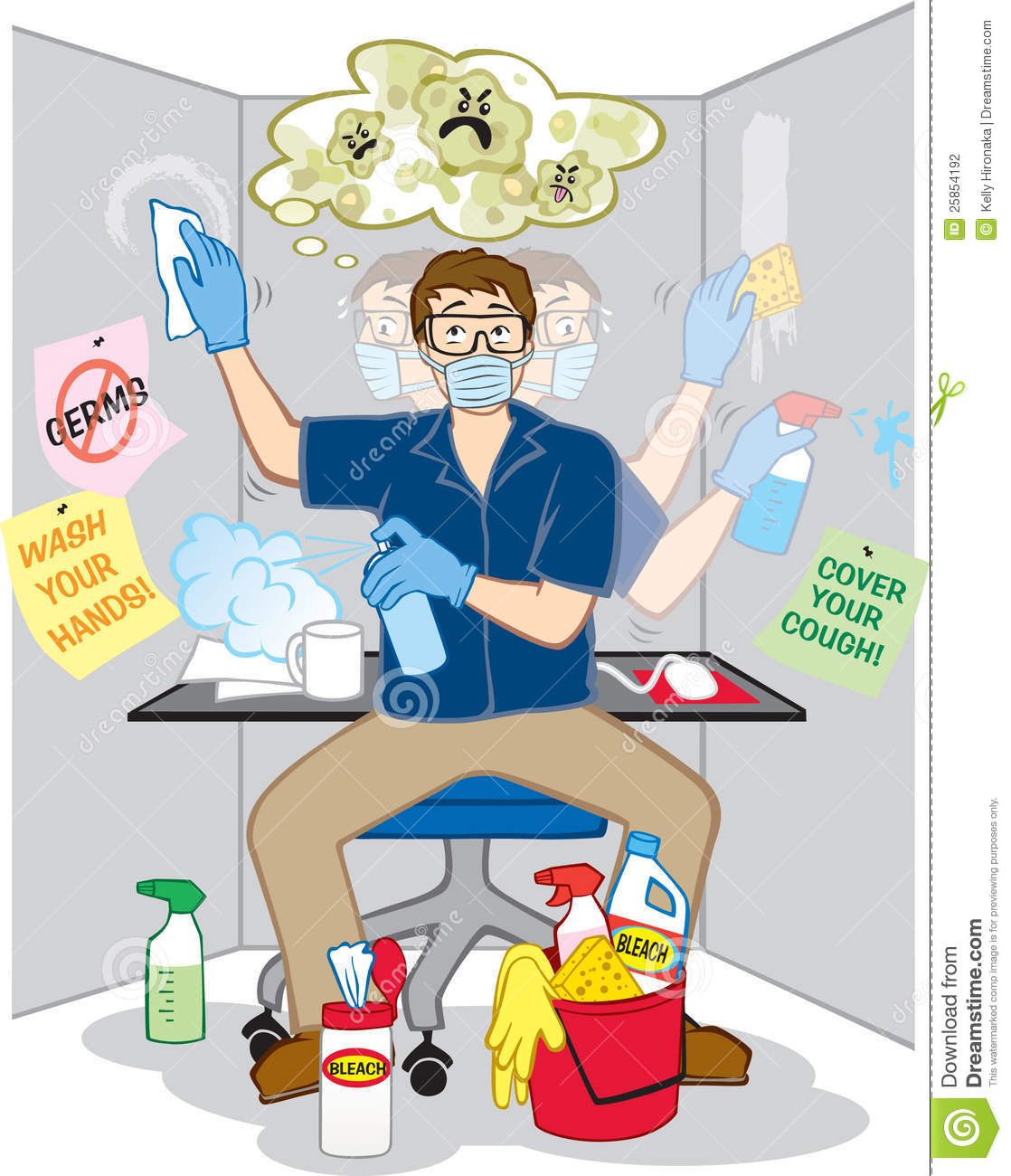 About germs at work and is frantically disinfecting everything