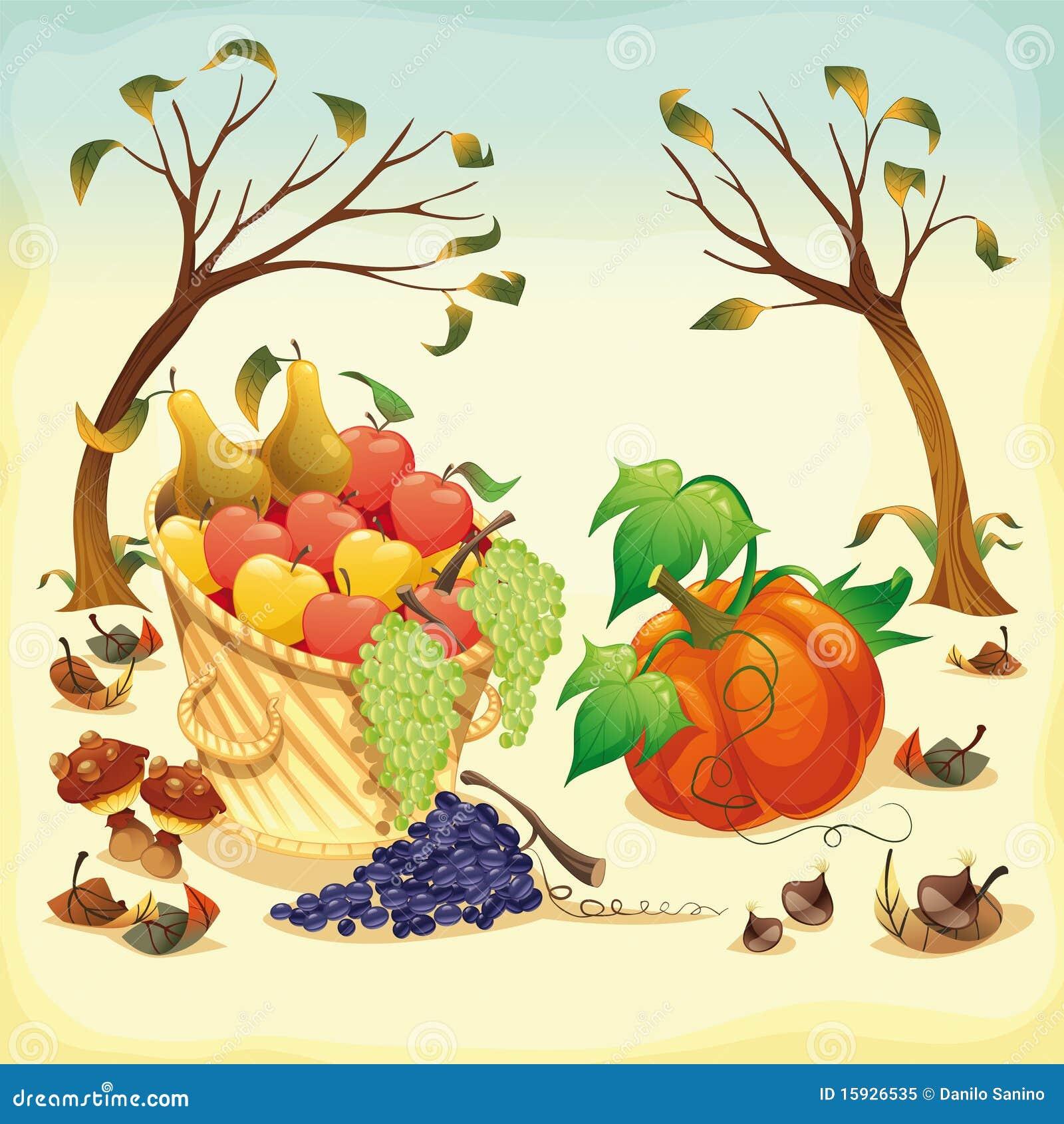 Obst und gemüse im herbst vektorabbildung getrennte nachrichten