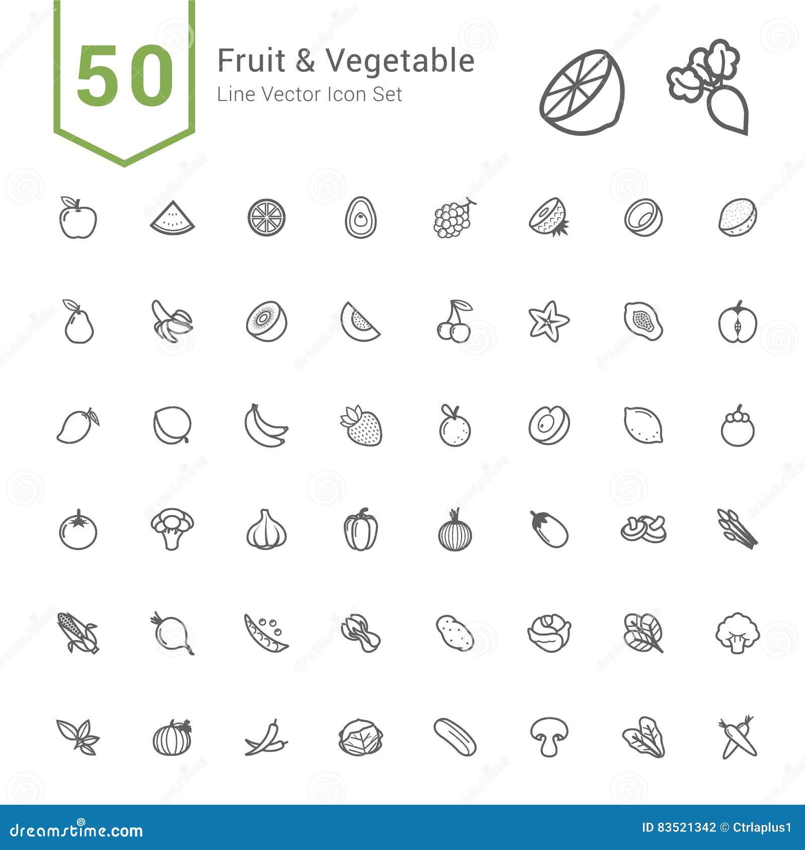 Obst- und GemüseIkonen-Satz 50 Linie Vektor-Ikonen
