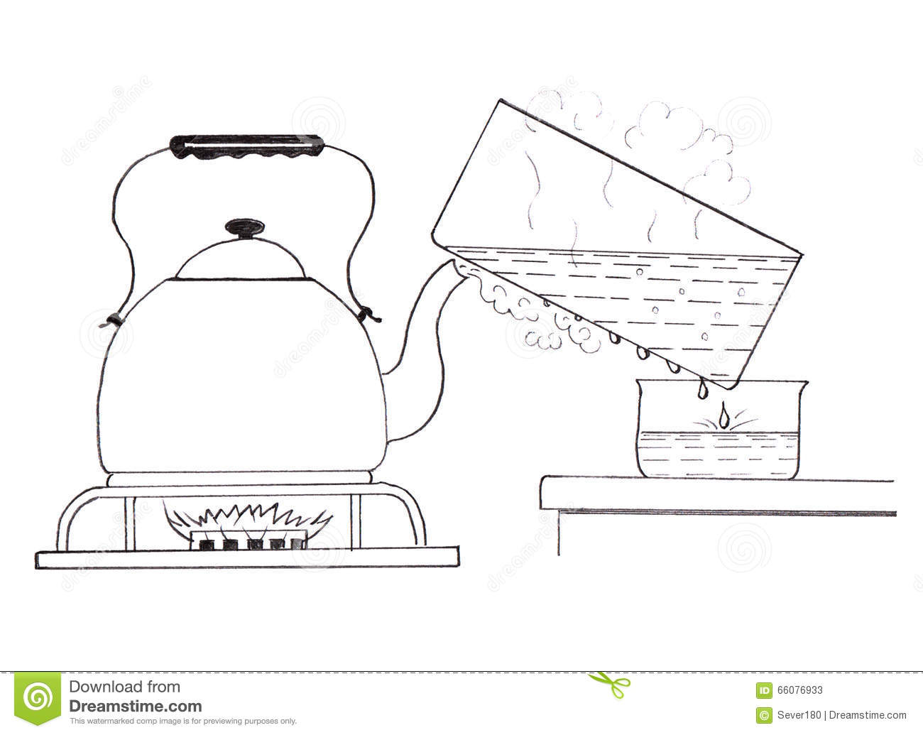 Obtain distilled water at home stock illustration