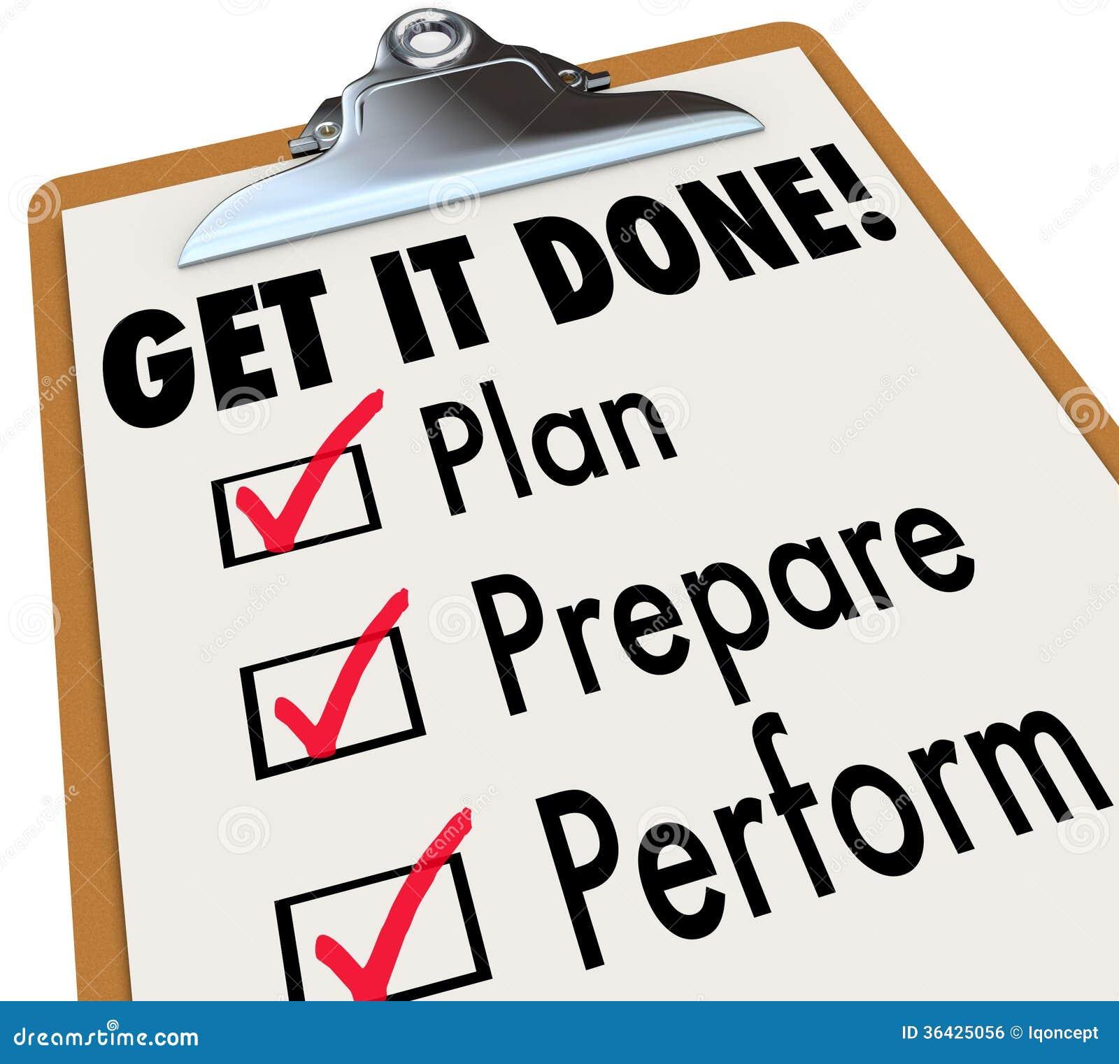 Obtenha-lhe o plano feito da lista de verificação da prancheta preparam-se executam