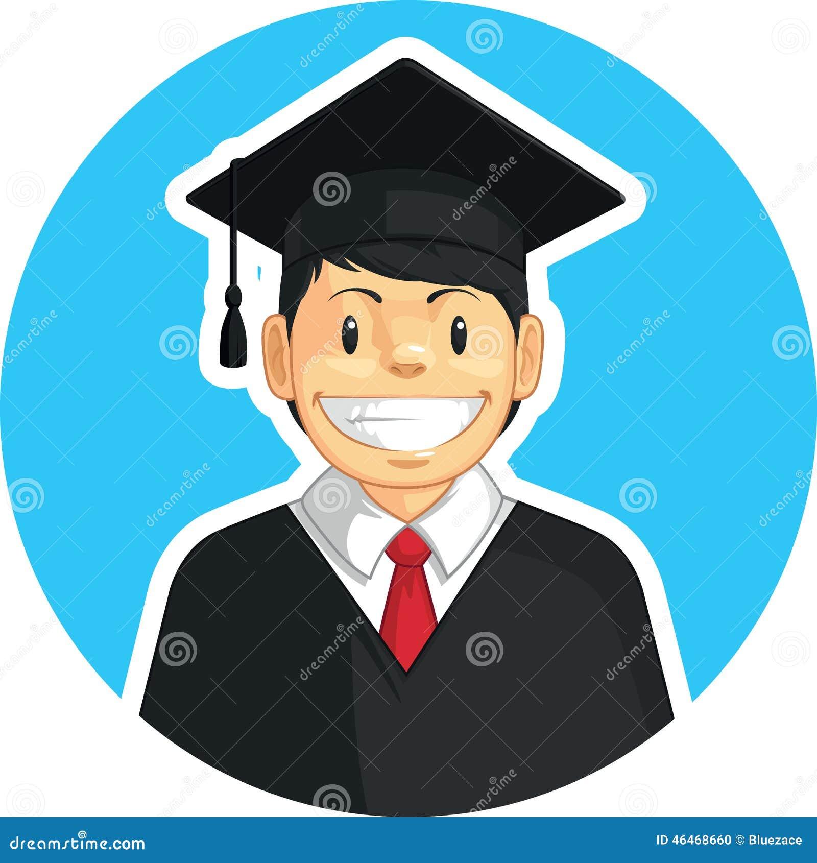 Obtention Du Diplome D Ecole Universite Garcon Illustration De