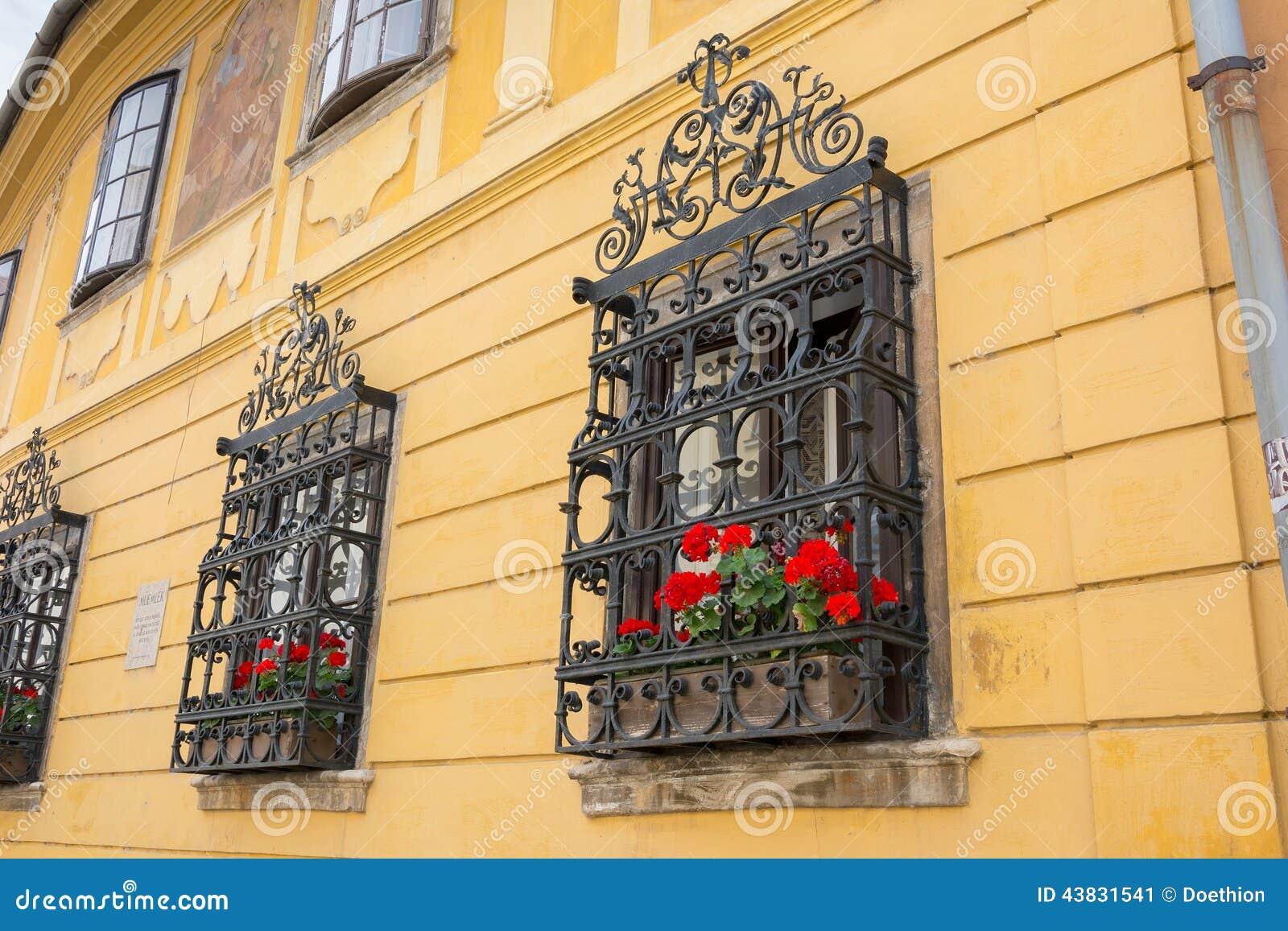 #C00B0C Foto de Stock: Obturadores ornamentado da janela do ferro forjado 566 Janelas Em Arco De Ferro