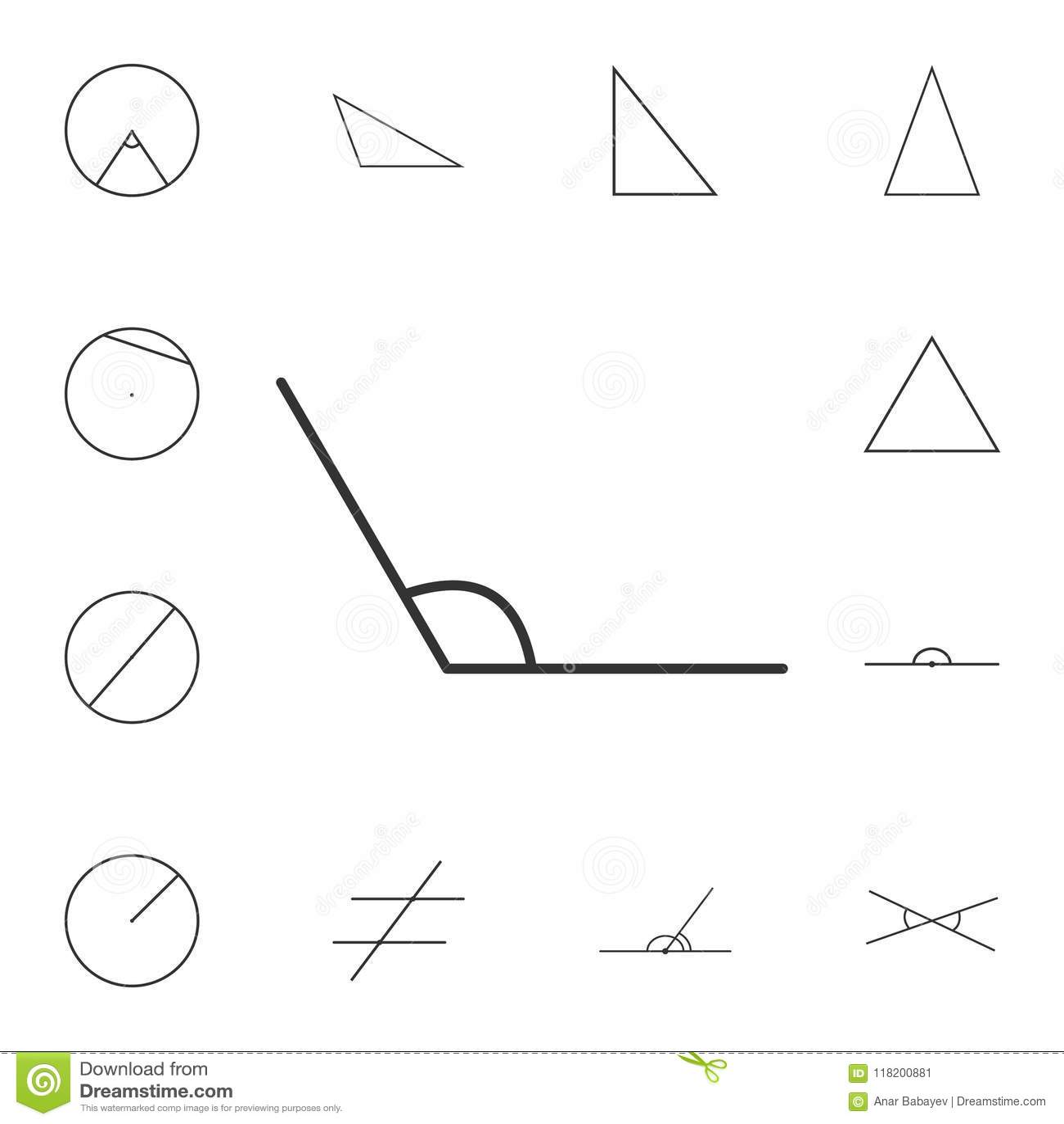 Obtuse Angle Outline Icon  Detailed Set Of Geometric Figure