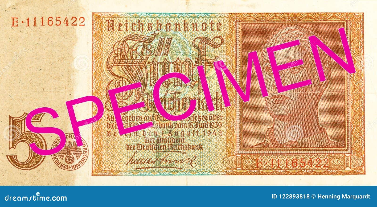 5 obverse банкноты 1942 reichsmark немца