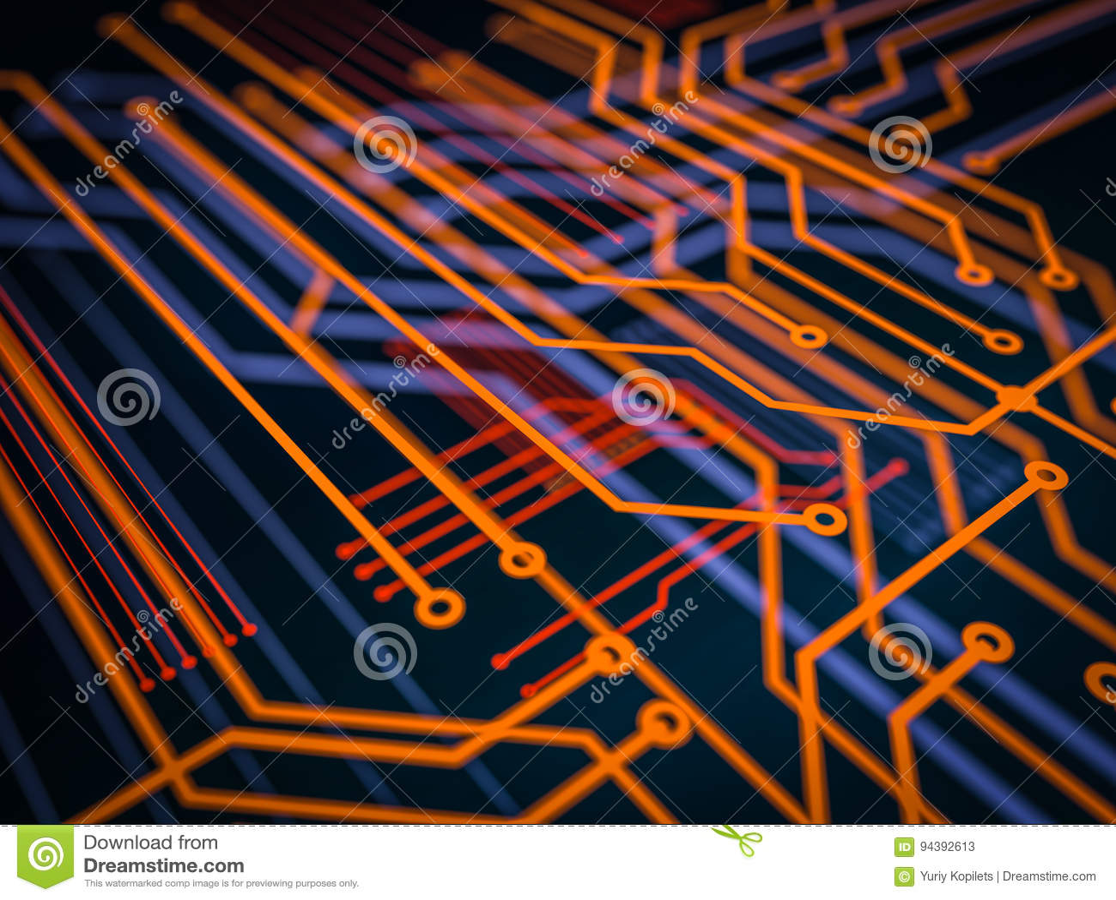 Obwód deski serweru kodu futurystyczny przerób Pomarańcze, zieleń, błękitny technologii tło z bokeh ilustracja 3 d