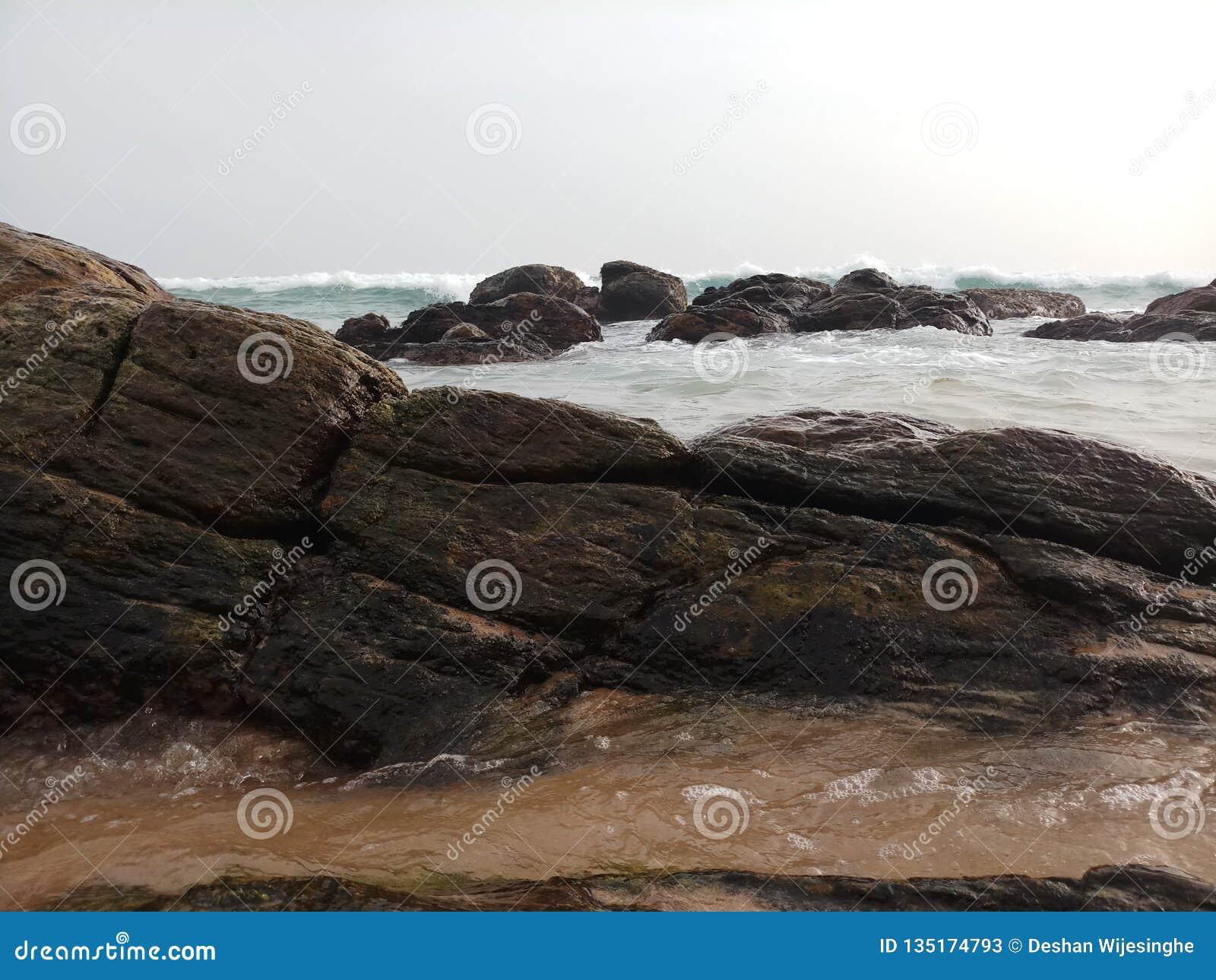 Océan de mer avec la belle plage de roches
