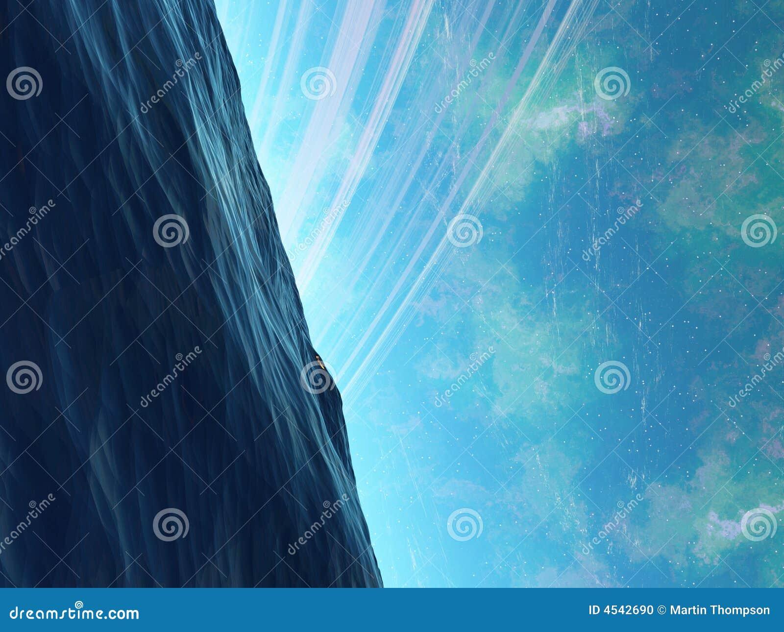 Océano de Arkology del planeta con algo que está al acecho