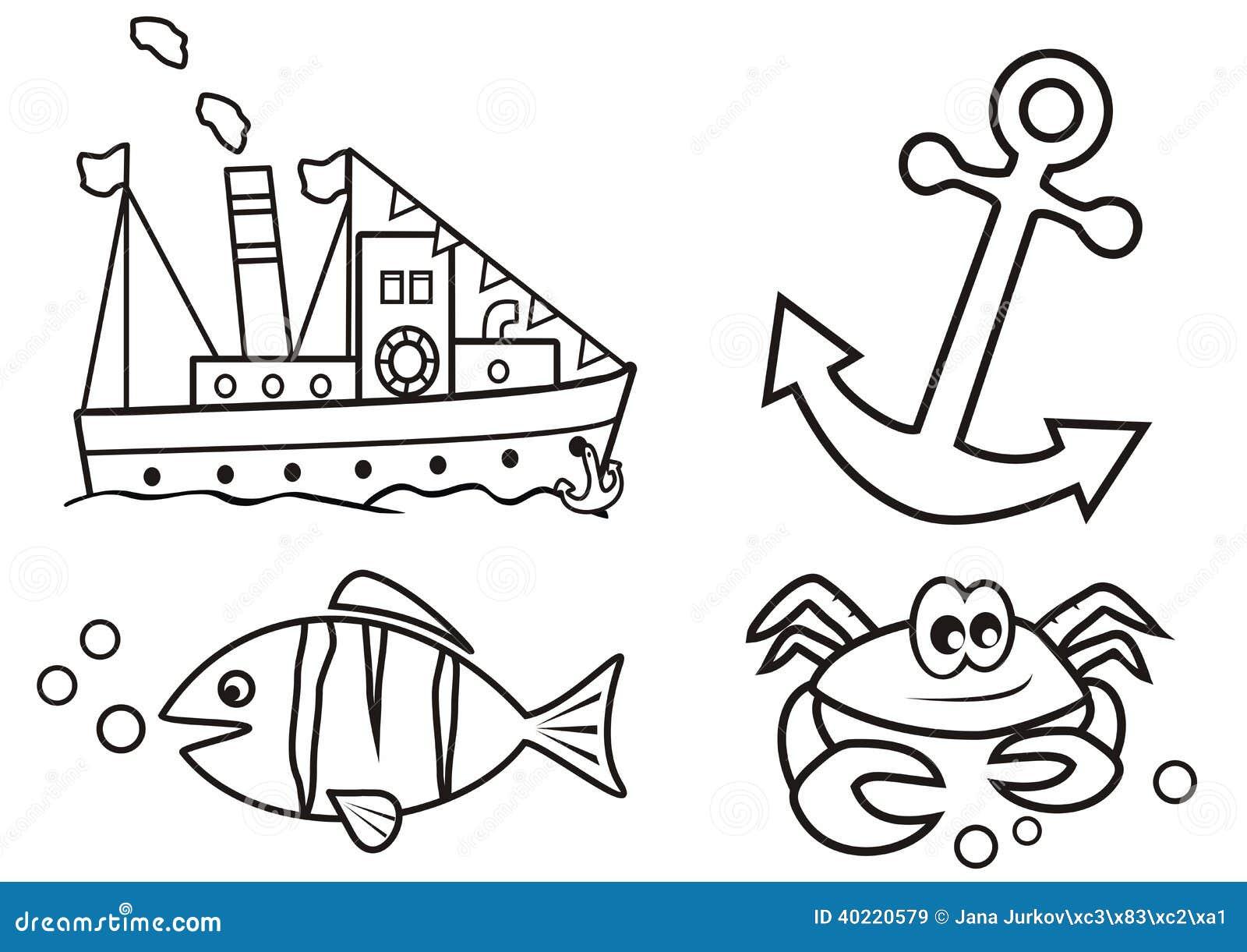 Océano - libro de colorear ilustración del vector. Ilustración de ...