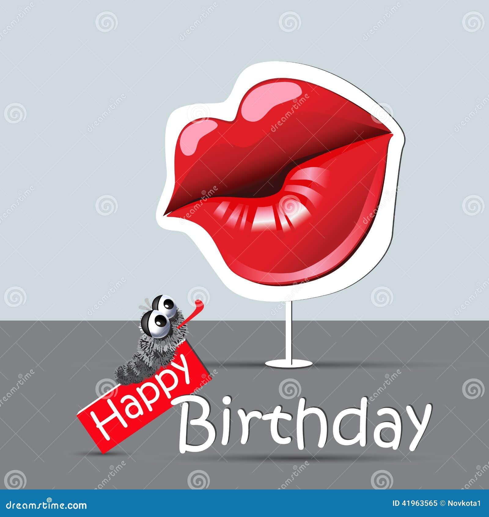 Occhi Divertenti Della Carta Di Buon Compleanno E Bacio Di