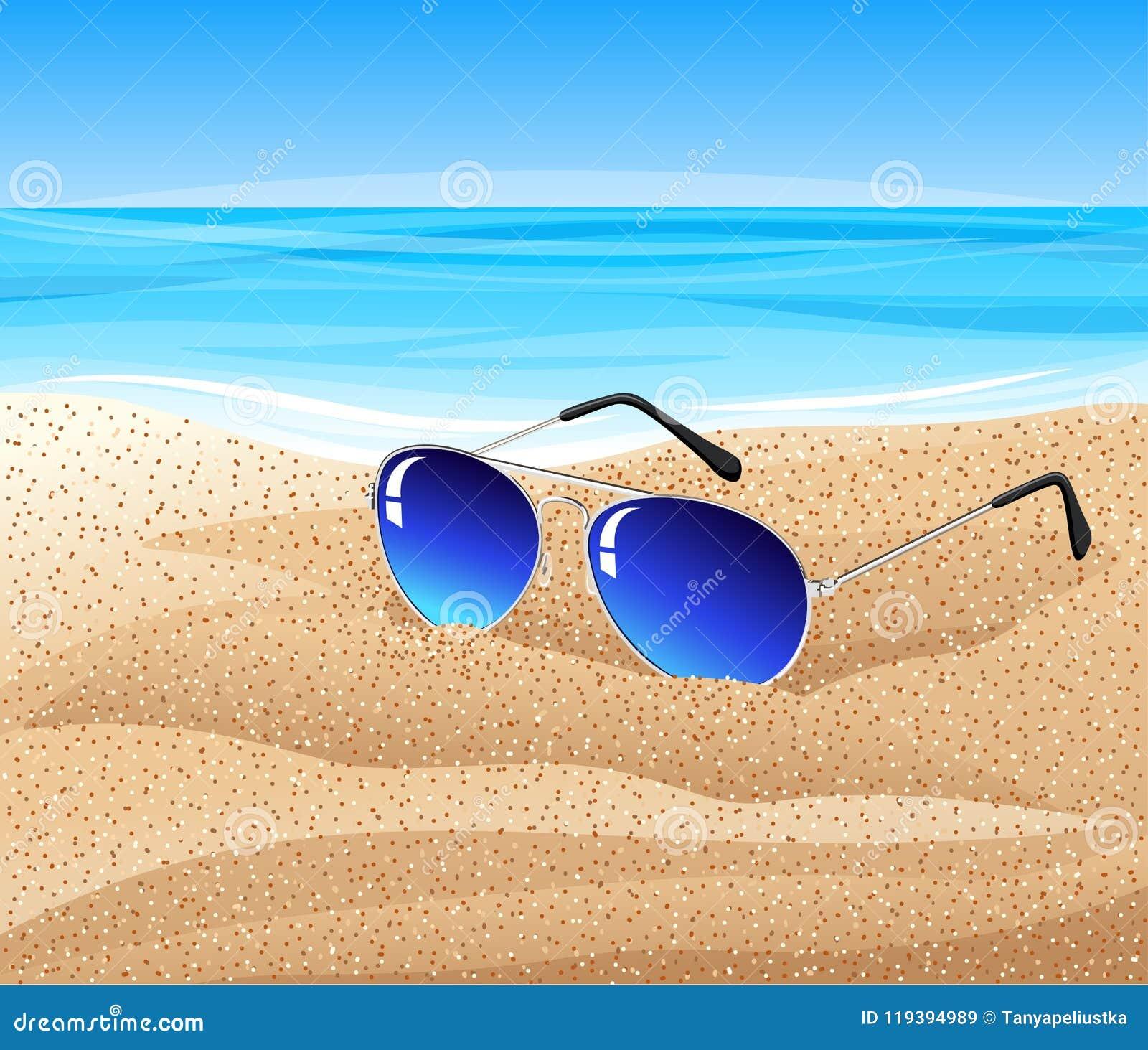 df17b0f44d Vettoriale Da Sulla Illustrazione Occhiali Sole Spiaggia qMSUVLzpG
