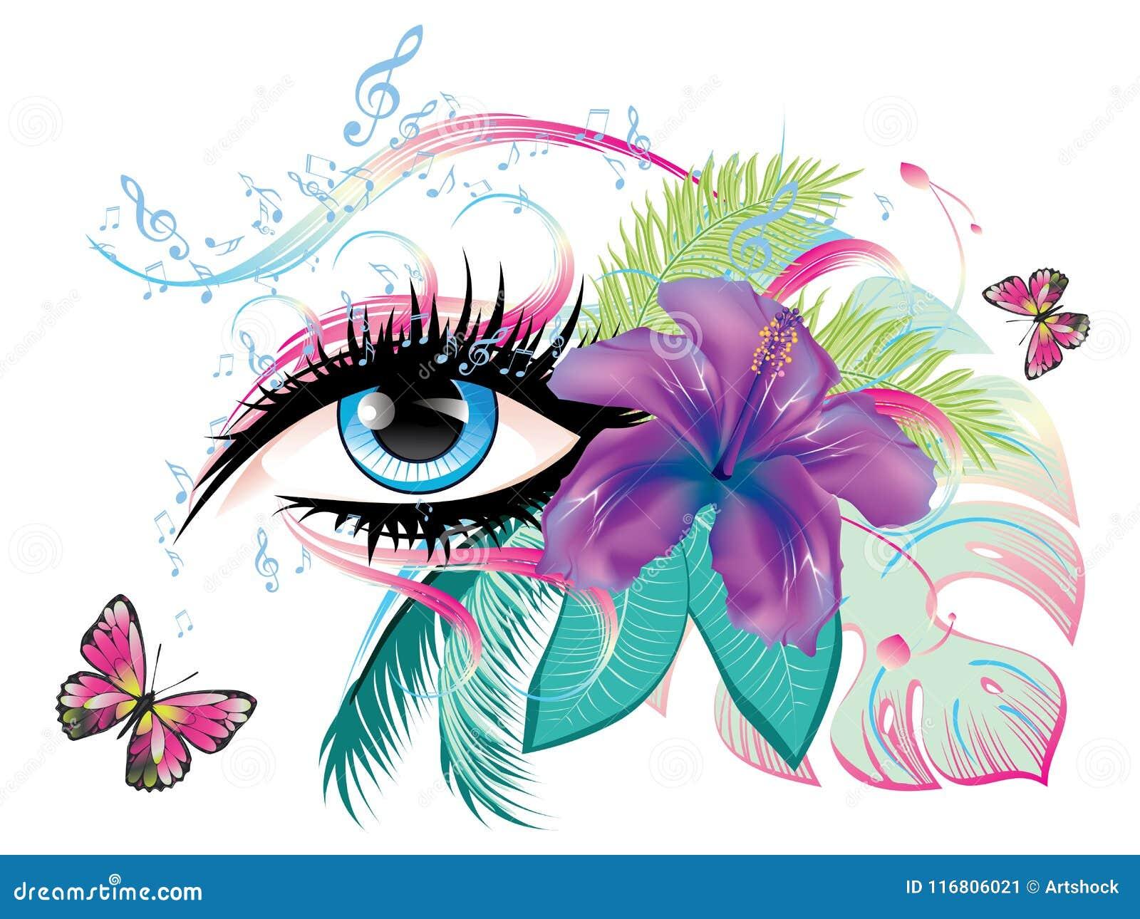 Occhio con le note di musica e floreali