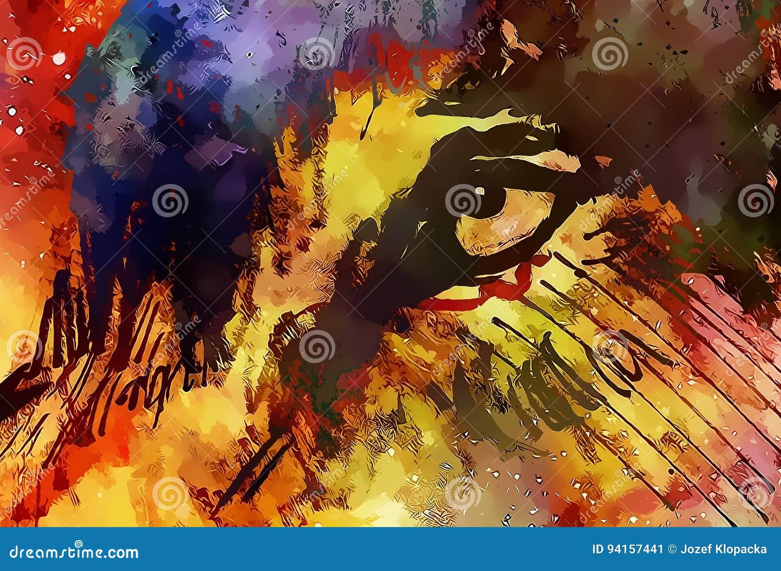 Occhio del lupo, lupo cosmico vigoroso nello spazio cosmico Effetto grafico