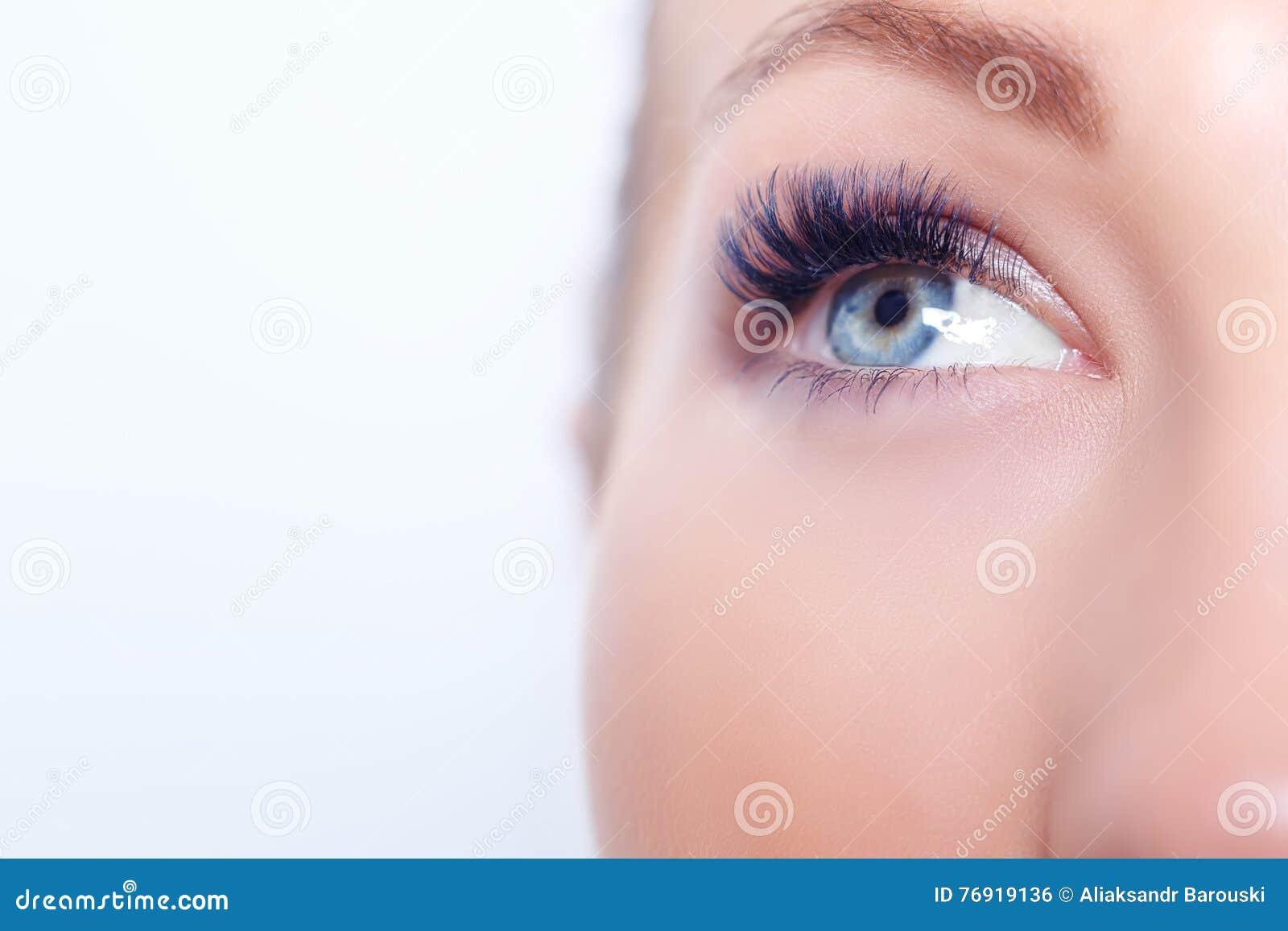 Occhio della donna con i cigli lunghi Estensione del ciglio Sferze, fine su, fuoco selezionato