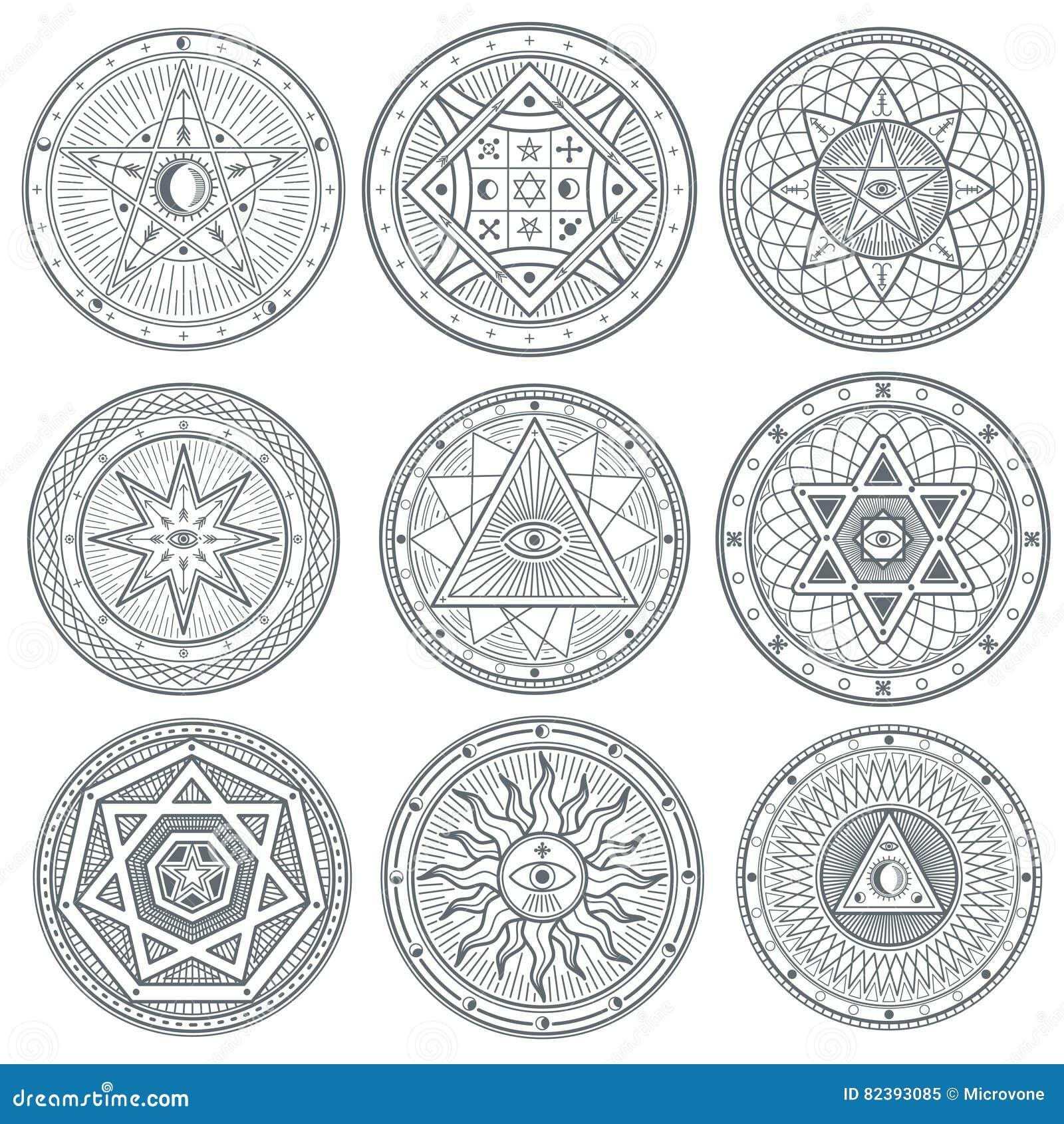 Occult, Mystic, Spiritual, Esoteric Vector Symbols Stock