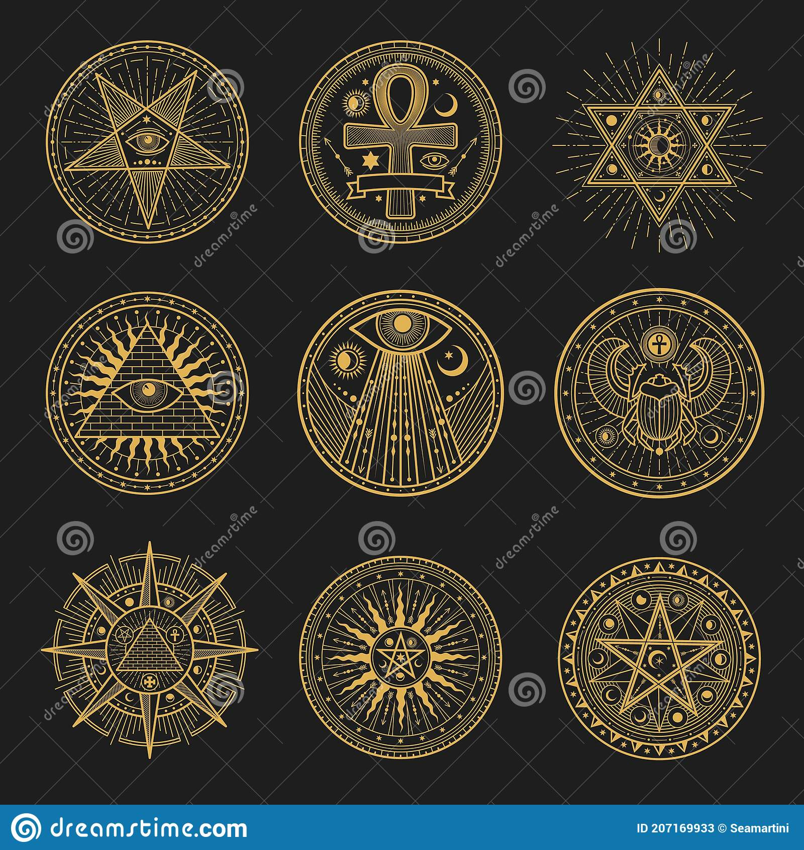 Occult signs, occultism, alchemy astrology symbols