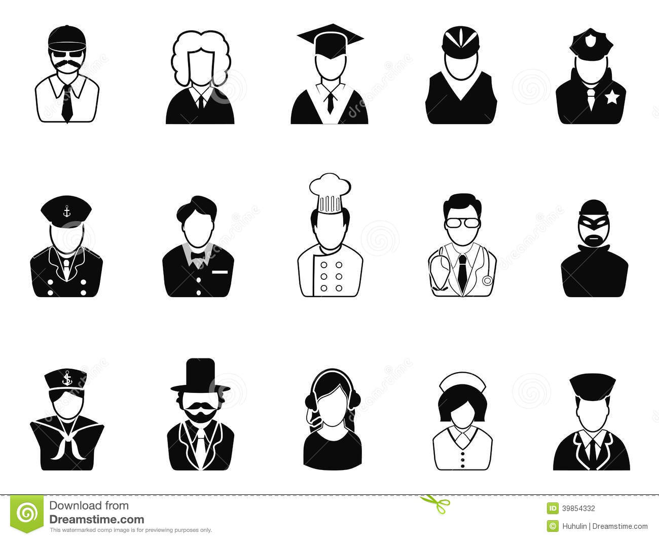 Occupations Avatars User Icons Set Stock Vector Image 39854332