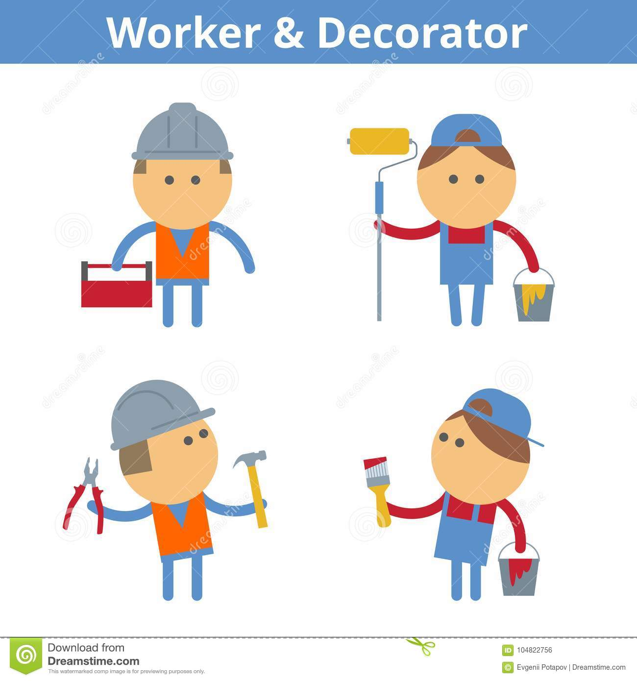 Painter Decorator Sign Stock Vector: Occupations Cartoon Character Set: Worker And Decorator