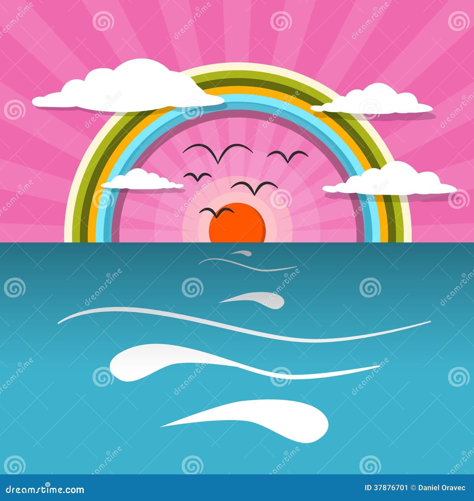 Oceaan Abstracte Zonsondergang, Zonsopgang Vectorillustratie