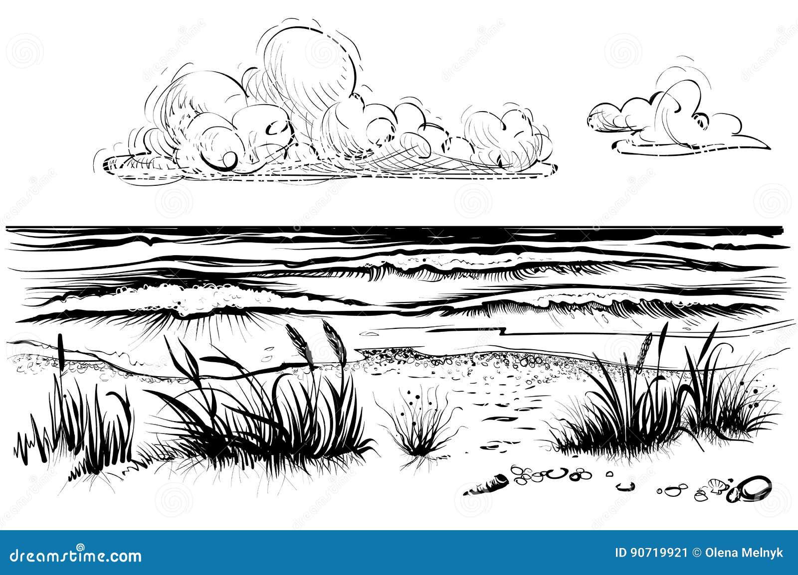 Oceaan of overzees strand met stormachtige golven, gras en wolk, schets