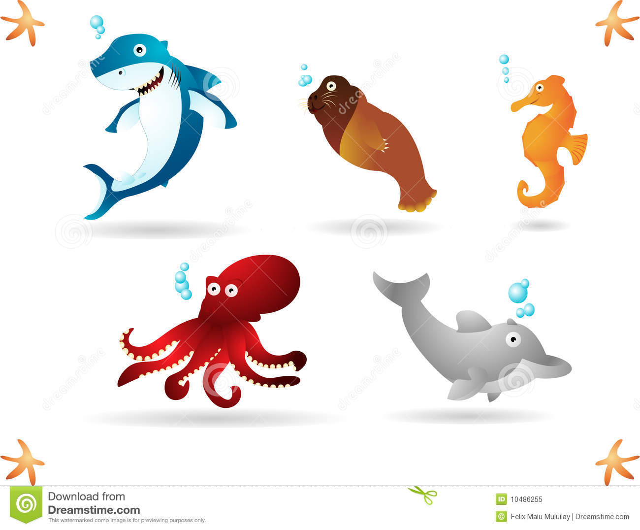 Happy animals living in the ocean. Simple radial and linear gradients ...
