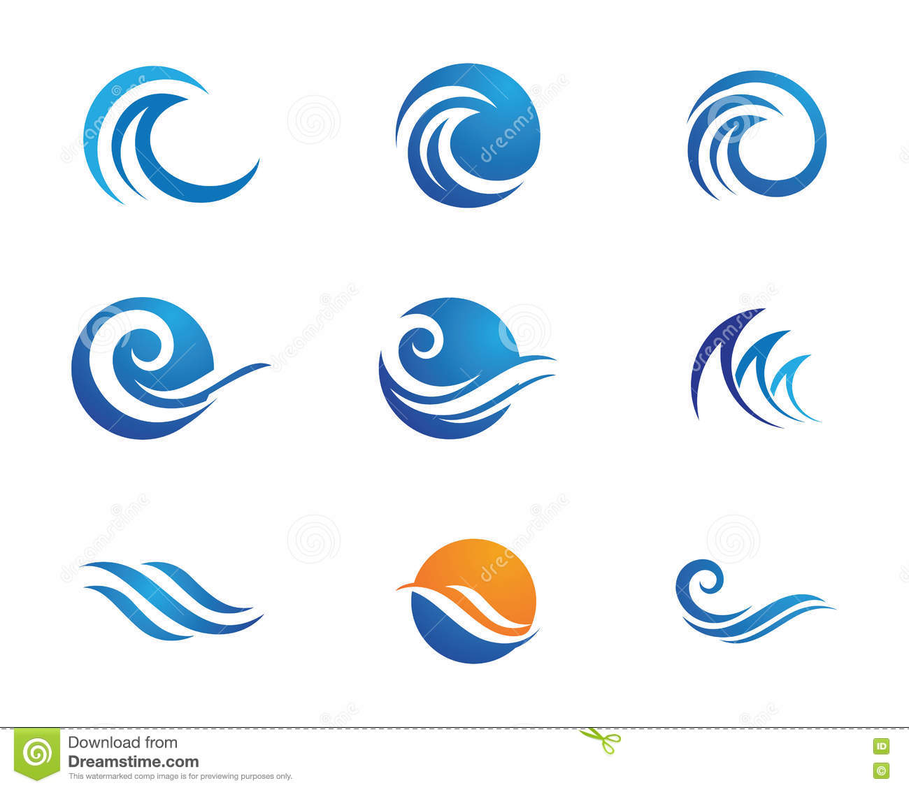 Ocean beach wave logo