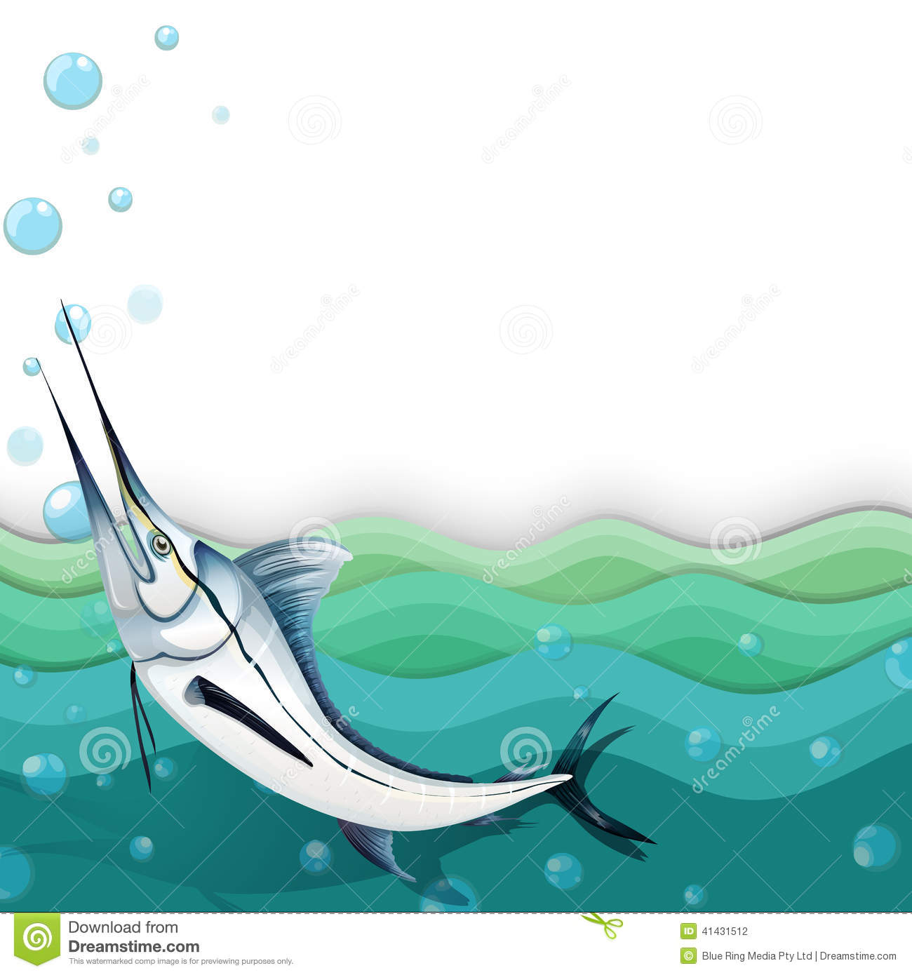 An ocean with a big fish stock vector image 41431512 for Big fish in the ocean