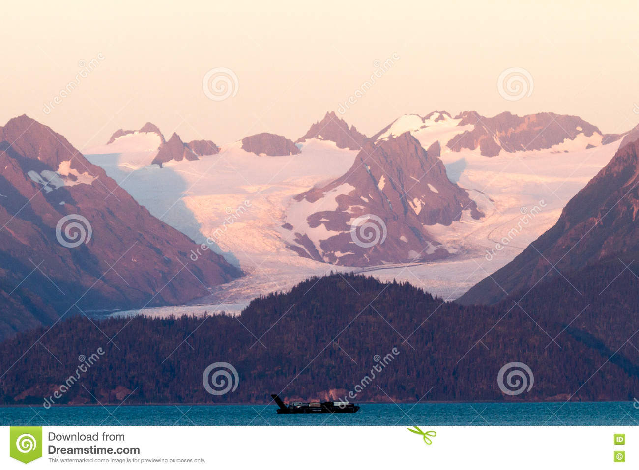 Snowy Mountain Motors >> Ocean Boat And Snowy Mountains On Sunset Stock Photo Image