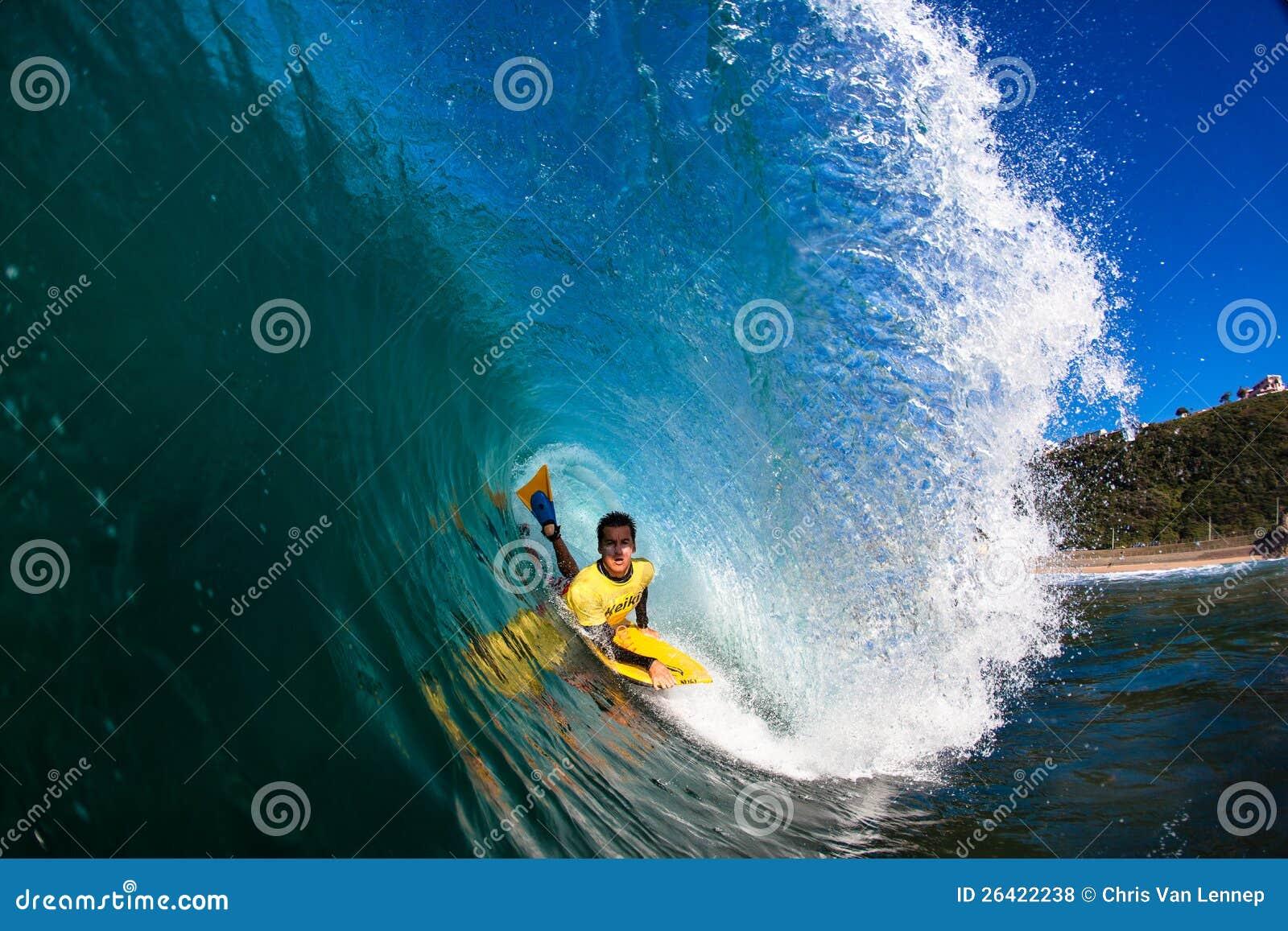 Ocean Body Boarding Hollow Wave