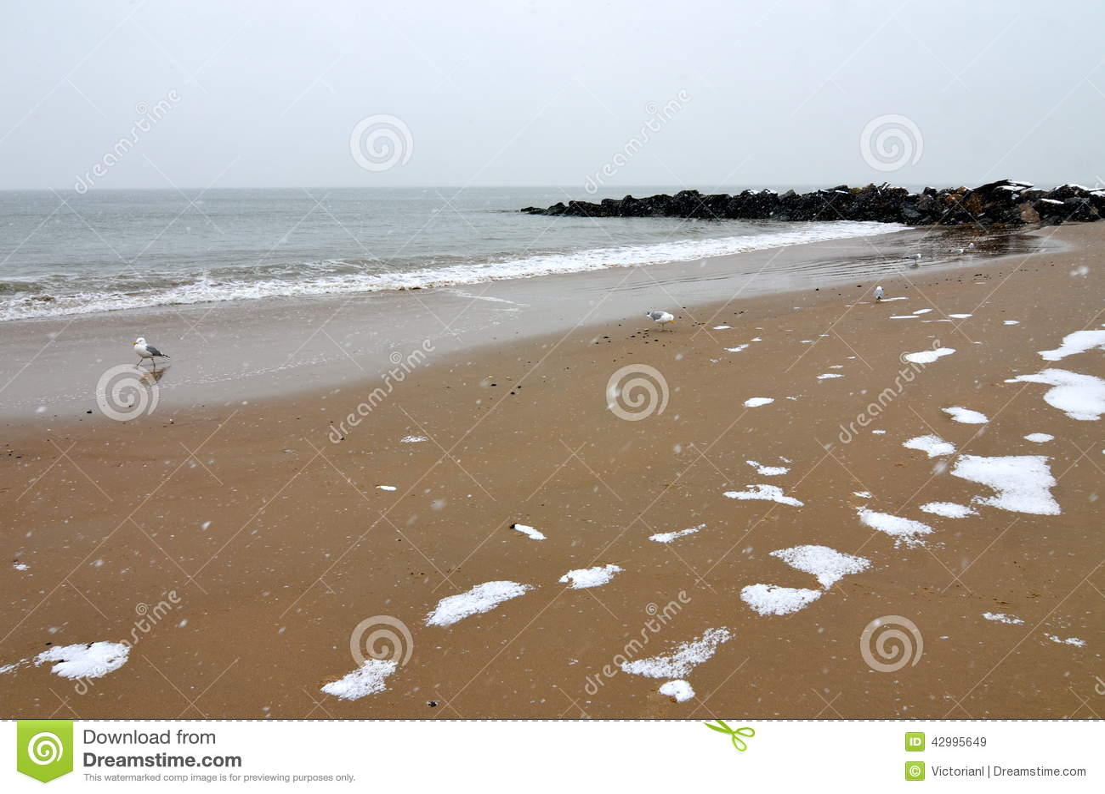 Ocean from Brighton Beach in the winter, New York.