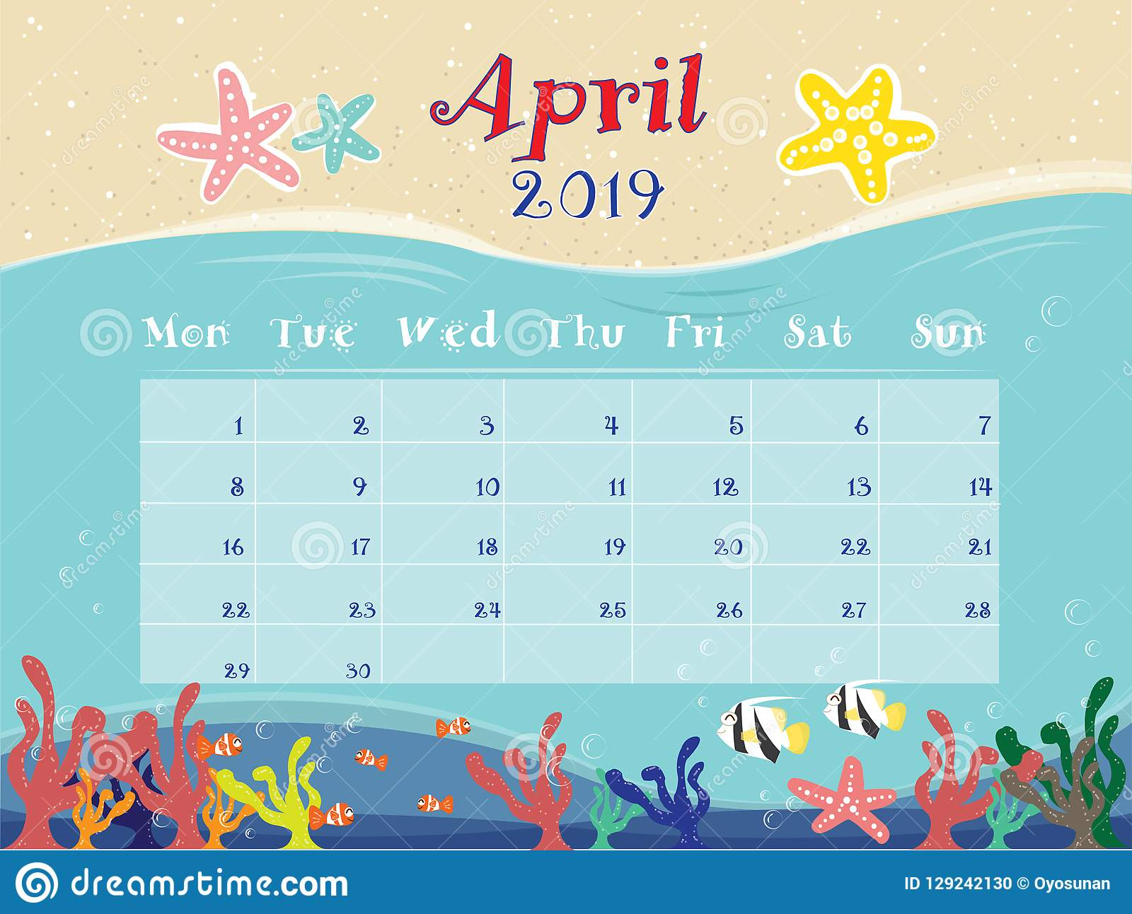 The Ocean Calendar Of April 2019  Stock Vector - Illustration of
