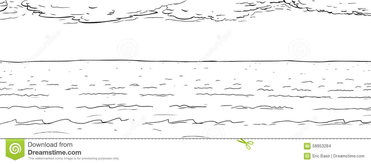 Ocean With Clouds Outline Stock Illustration Image 58953284