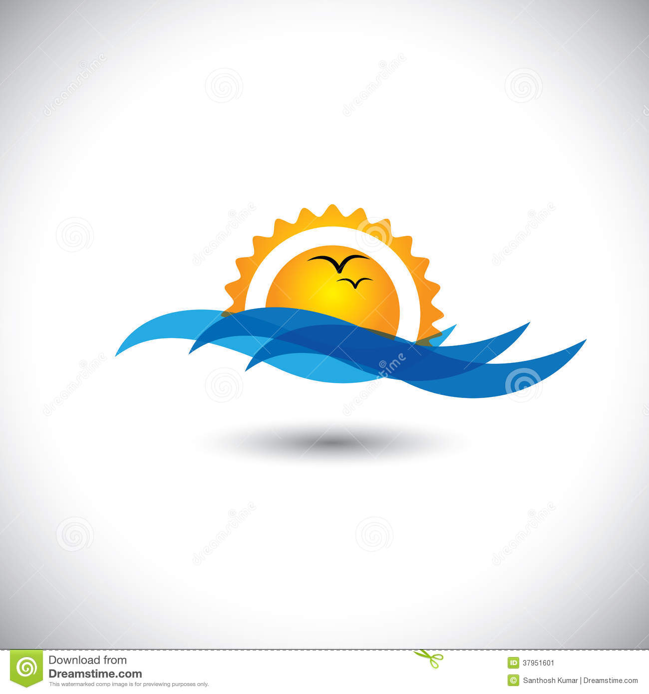 Ocean Concept Vector - Beautiful Morning Sunrise, Waves & Birds Stock ...