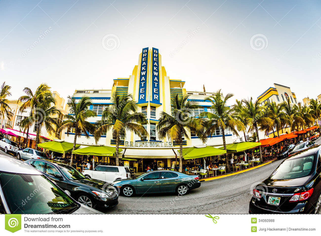 ocean drive in miami with famous art deco style breakwater