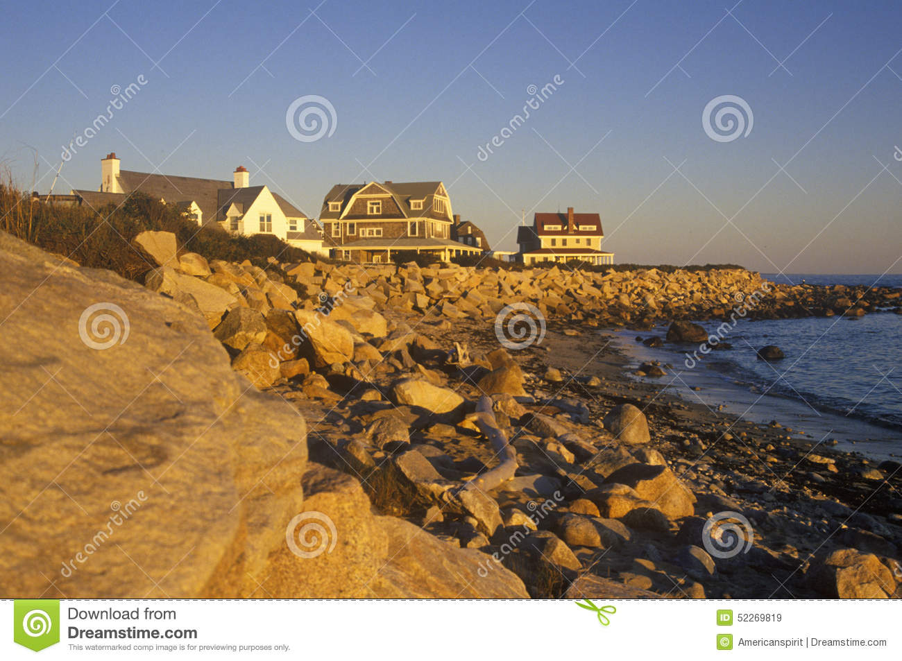 Ocean front home on Scenic route 1 at sunset, Misquamicut, RI
