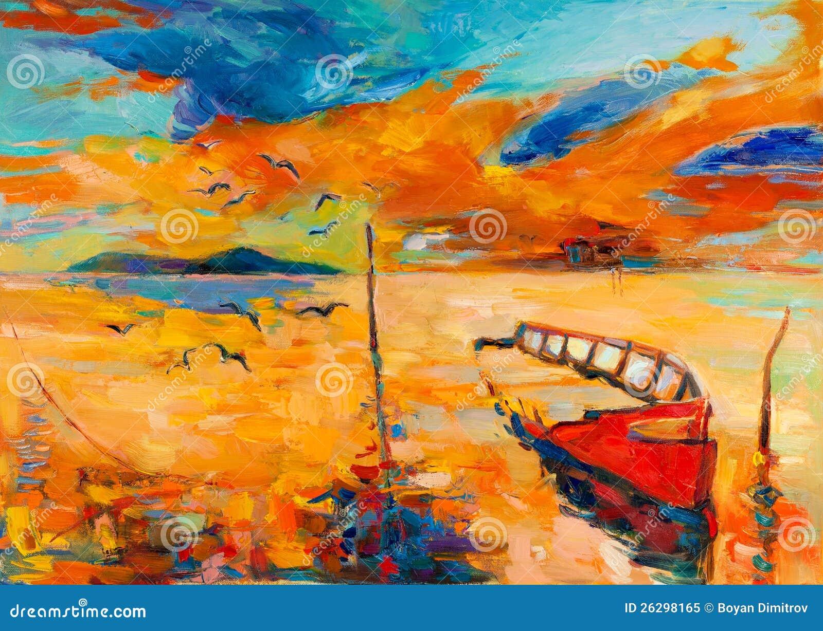 Ocean i łódź rybacka