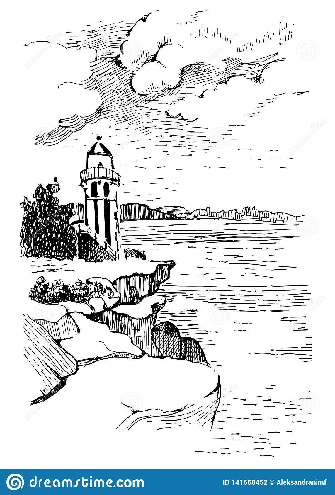 Ocean landscape with a lighthouse.Hand drawn sketch illustration. Poster for a children`s room. Beacon in the ocean