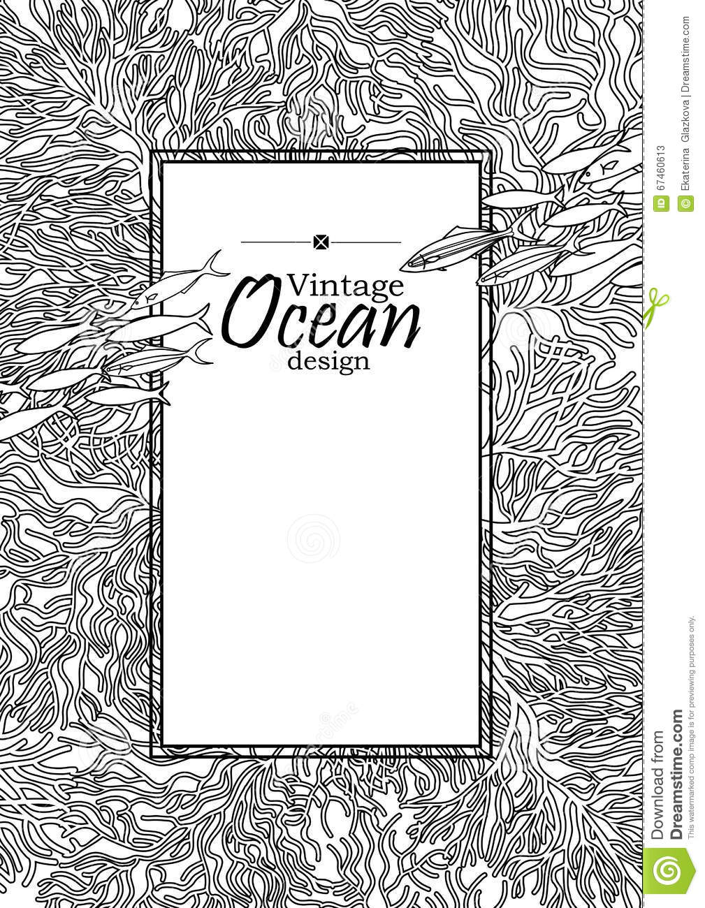 Line Art Card Design : Ocean line art design stock vector image