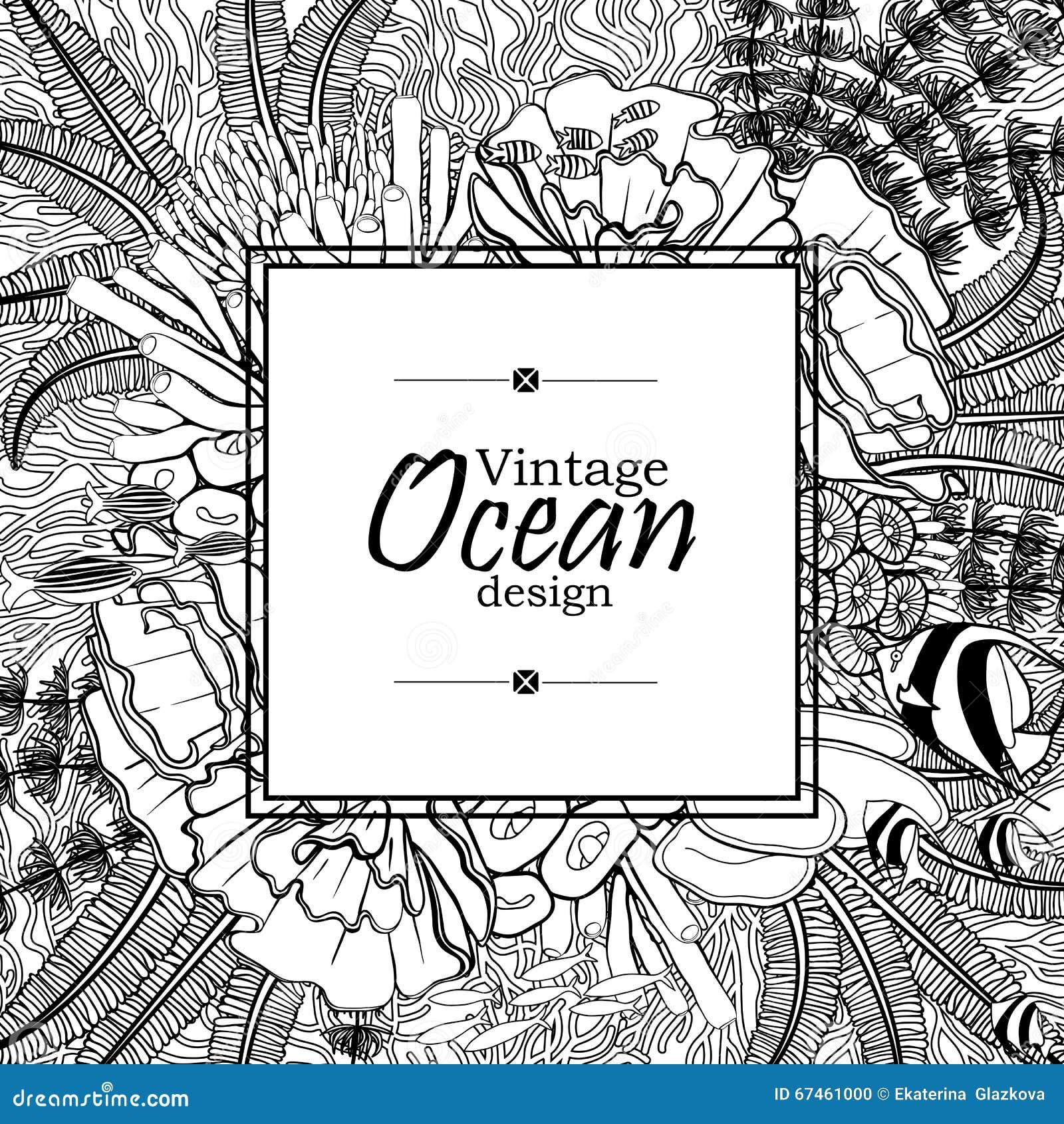 Line Art Card Design : Ocean line art design stock vector image