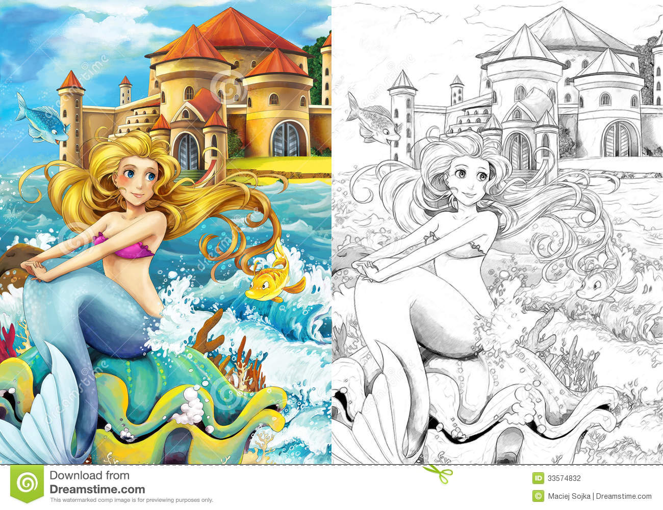 The Ocean And The Mermaids Coloring Page Stock Illustration
