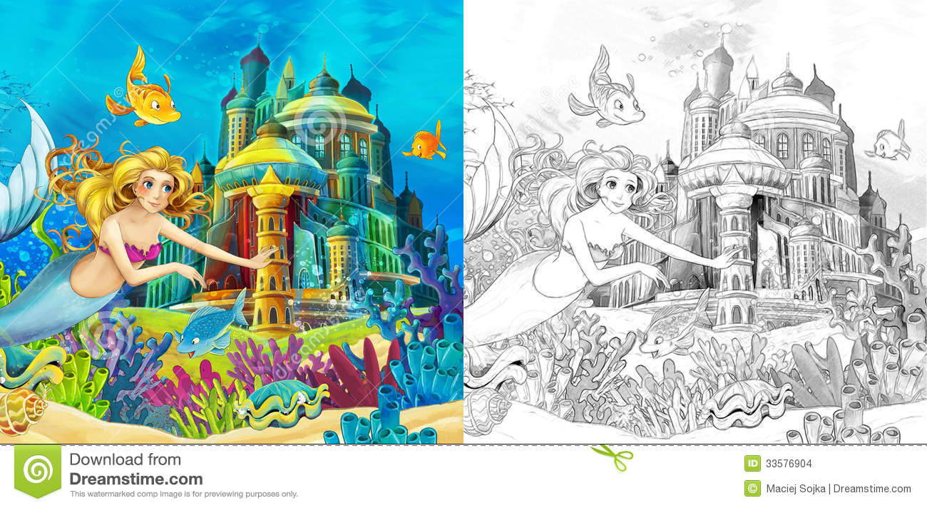The Ocean And The Mermaids - Coloring Page Stock Images - Image ...