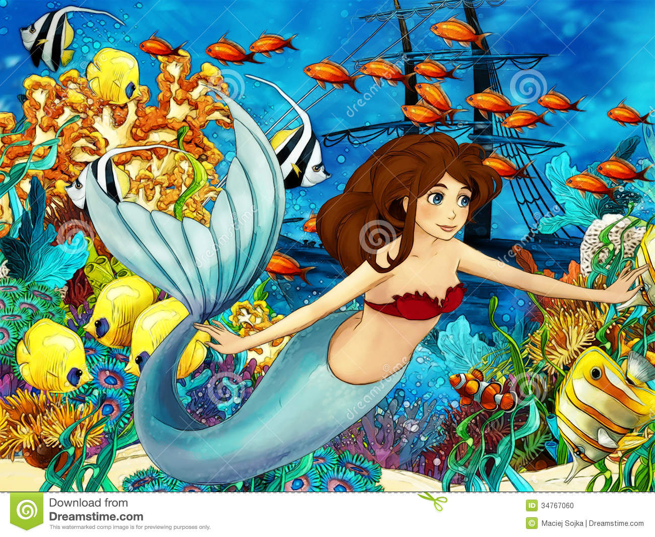The Ocean And The Mermaids Stock Photo Image 34767060