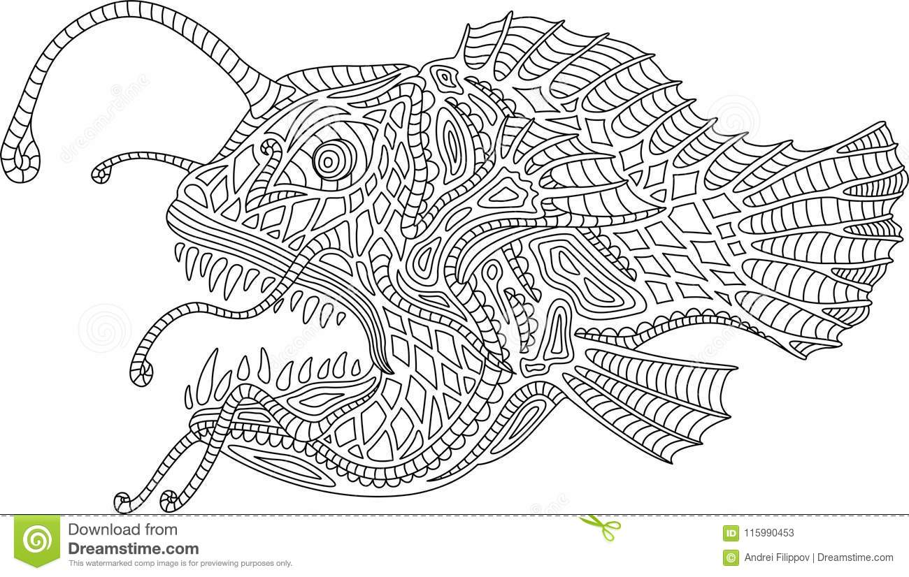 Ocean monster angler fish stock vector. Illustration of ...