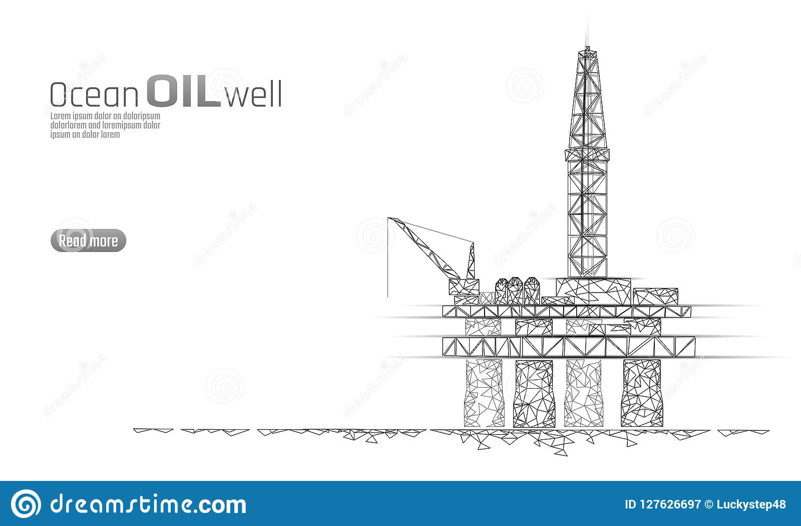 Ocean oil gas drilling rig low poly business concept. Finance economy polygonal petrol production. Petroleum fuel