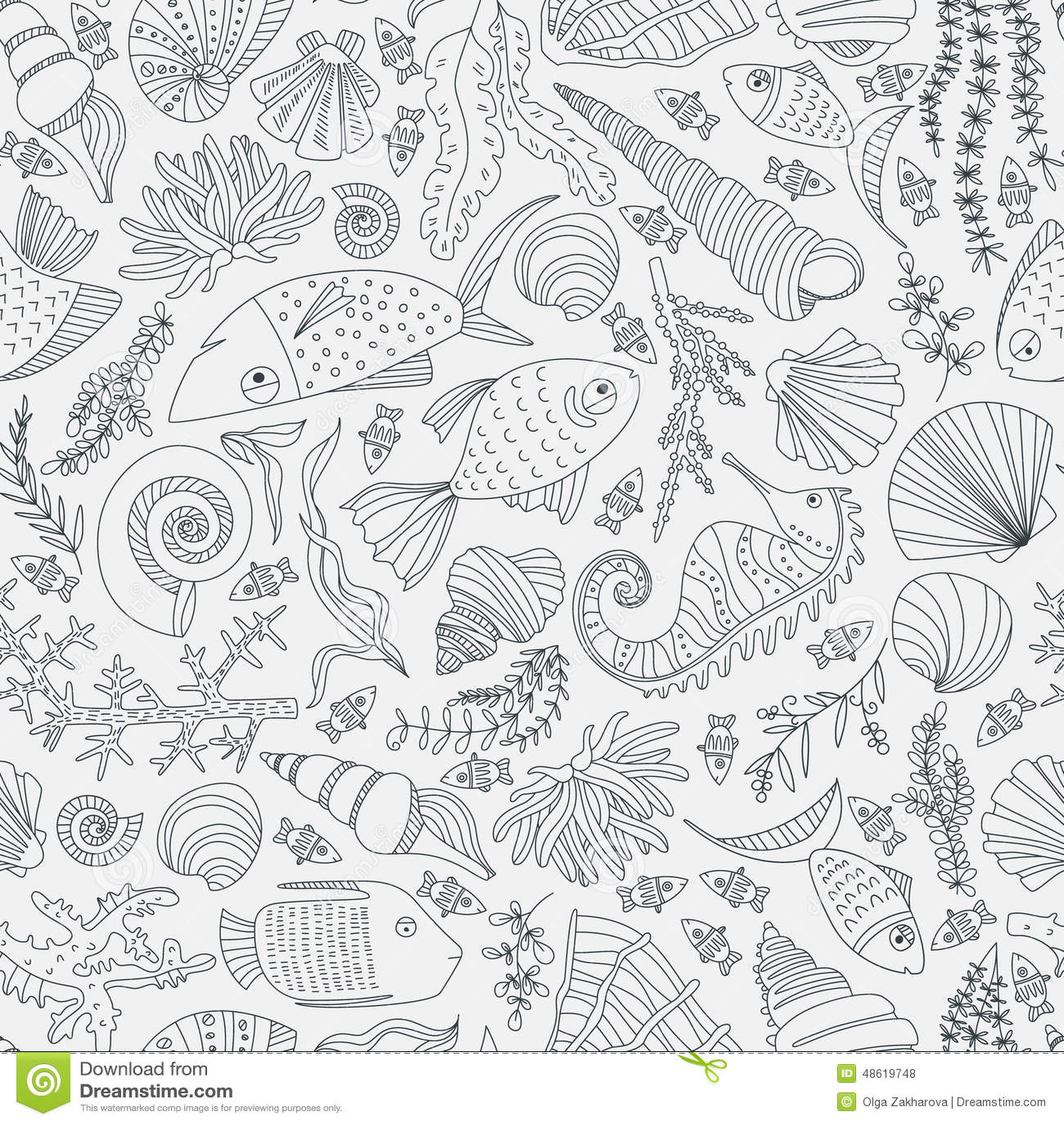 Ocean Pattern stock vector. Illustration of animal, decor ...