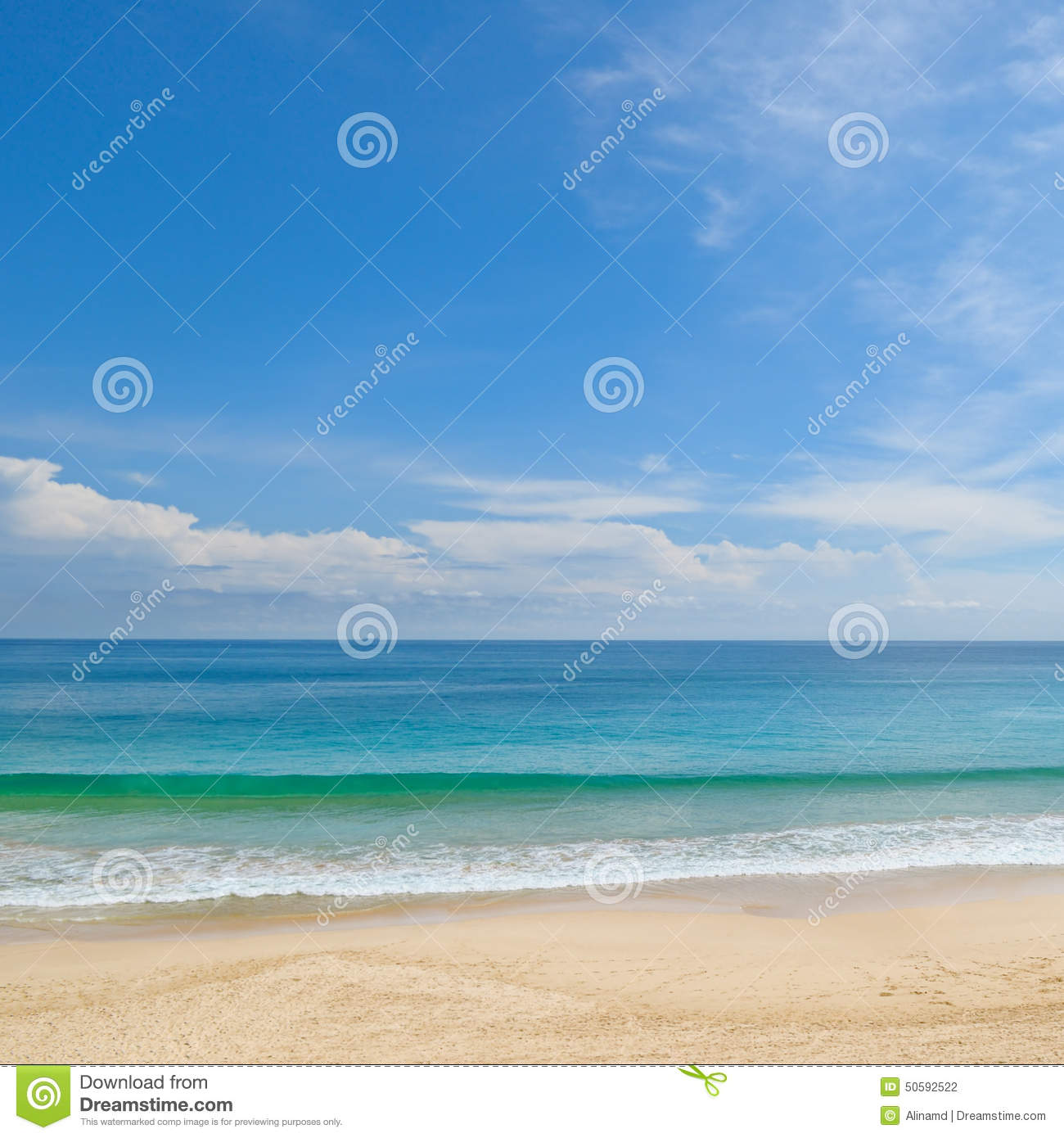 Sandy Beach: Ocean, Sandy Beach And Sky Stock Photo