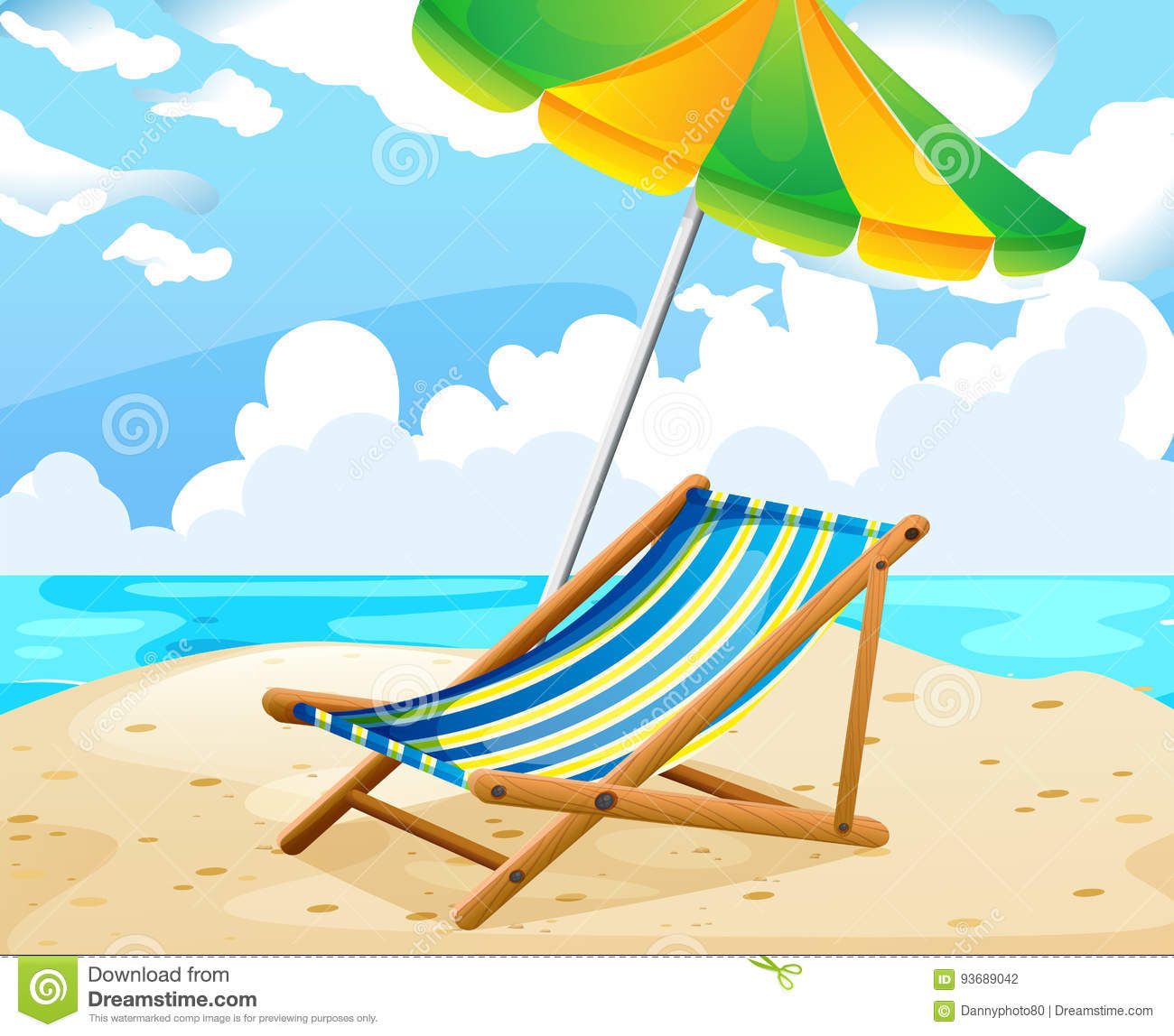 Ocean Scene With Seat And Umbrella On The Beach Stock ...